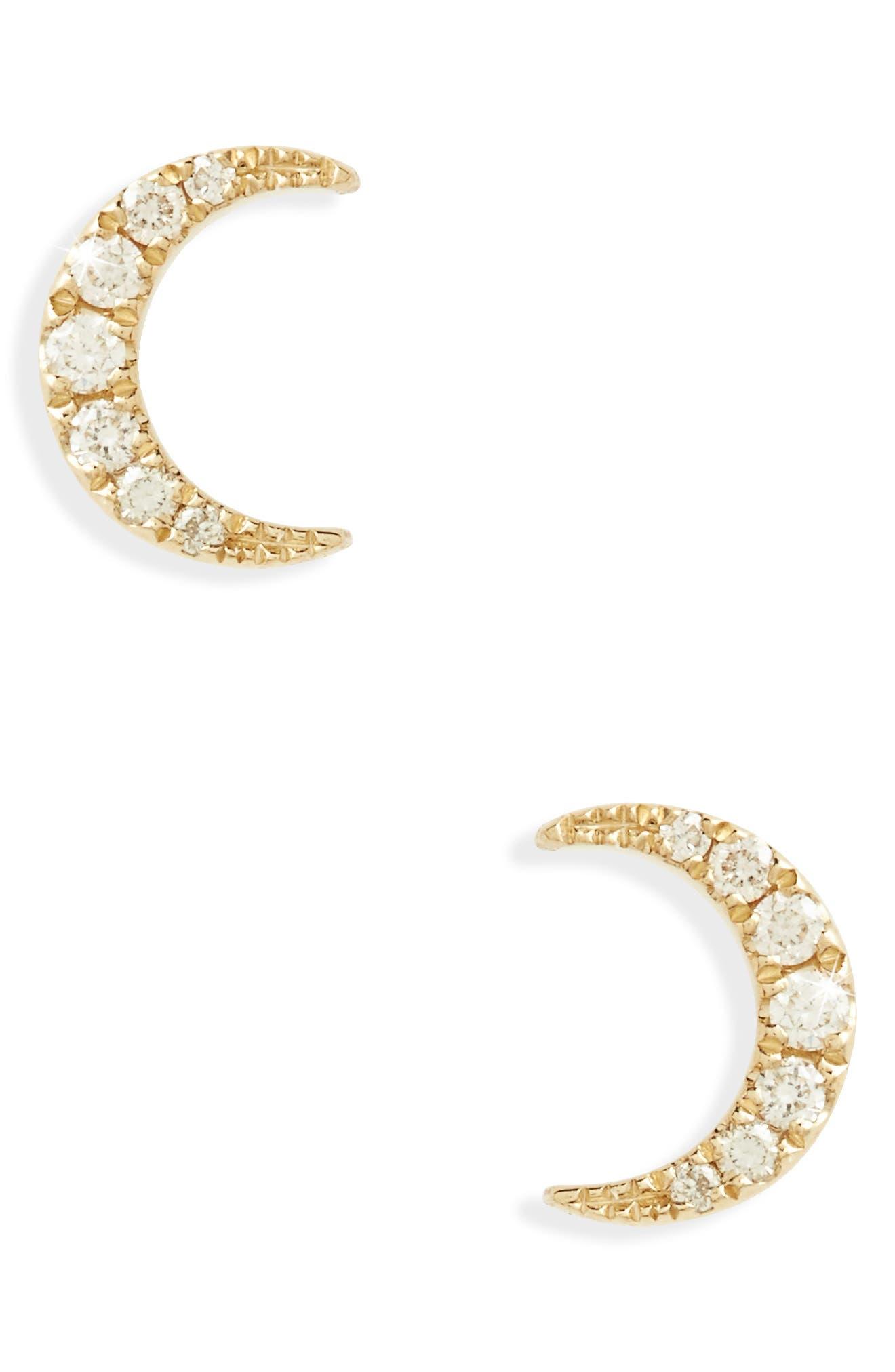 Mini Moon Diamond Stud Earrings,                             Main thumbnail 1, color,                             712