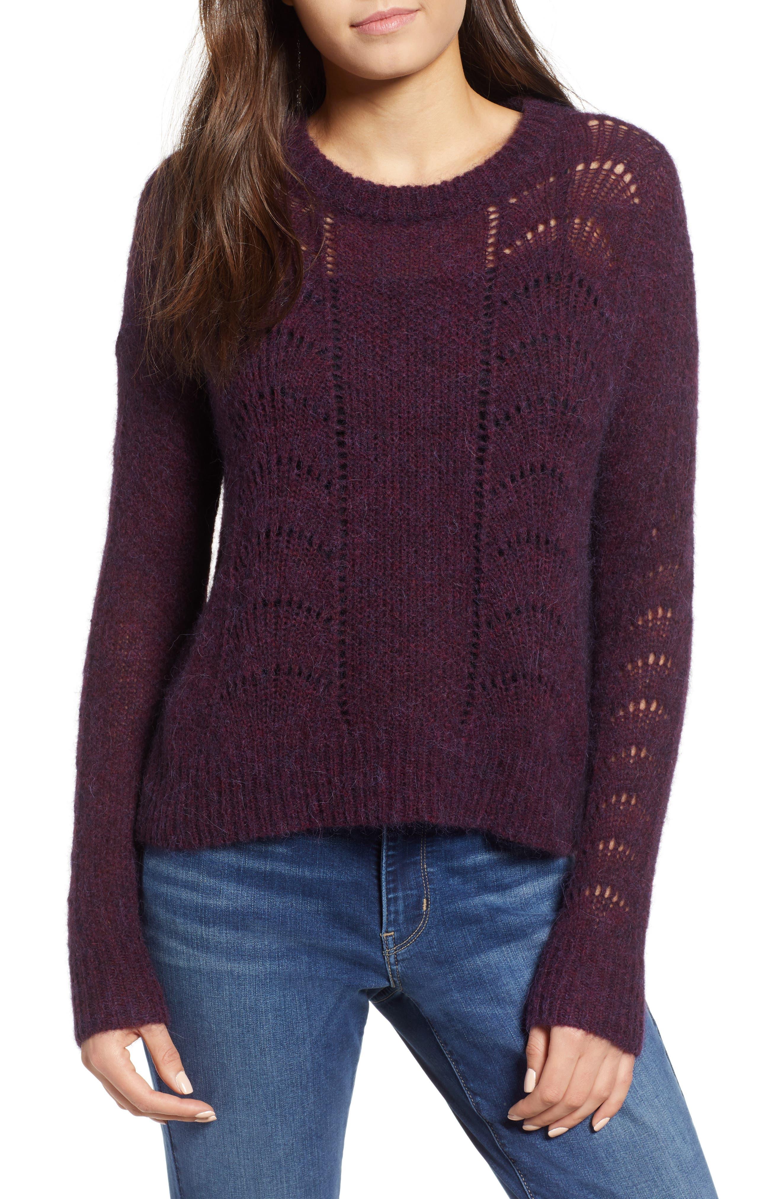 Mara Sweater,                             Main thumbnail 1, color,                             BLACKBERRY