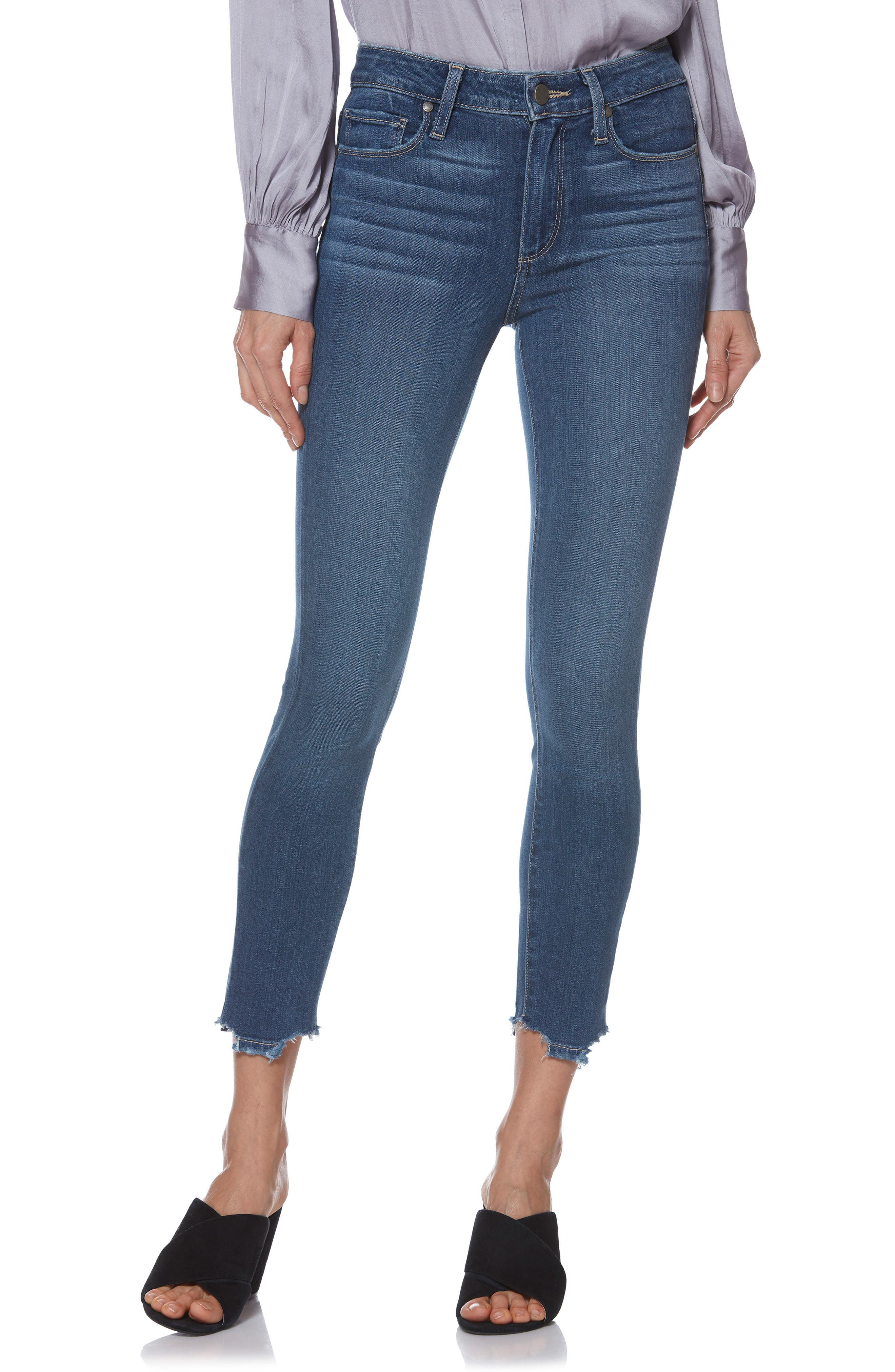 Transcend - Hoxton High Waist Crop Skinny Jeans,                             Main thumbnail 1, color,                             400
