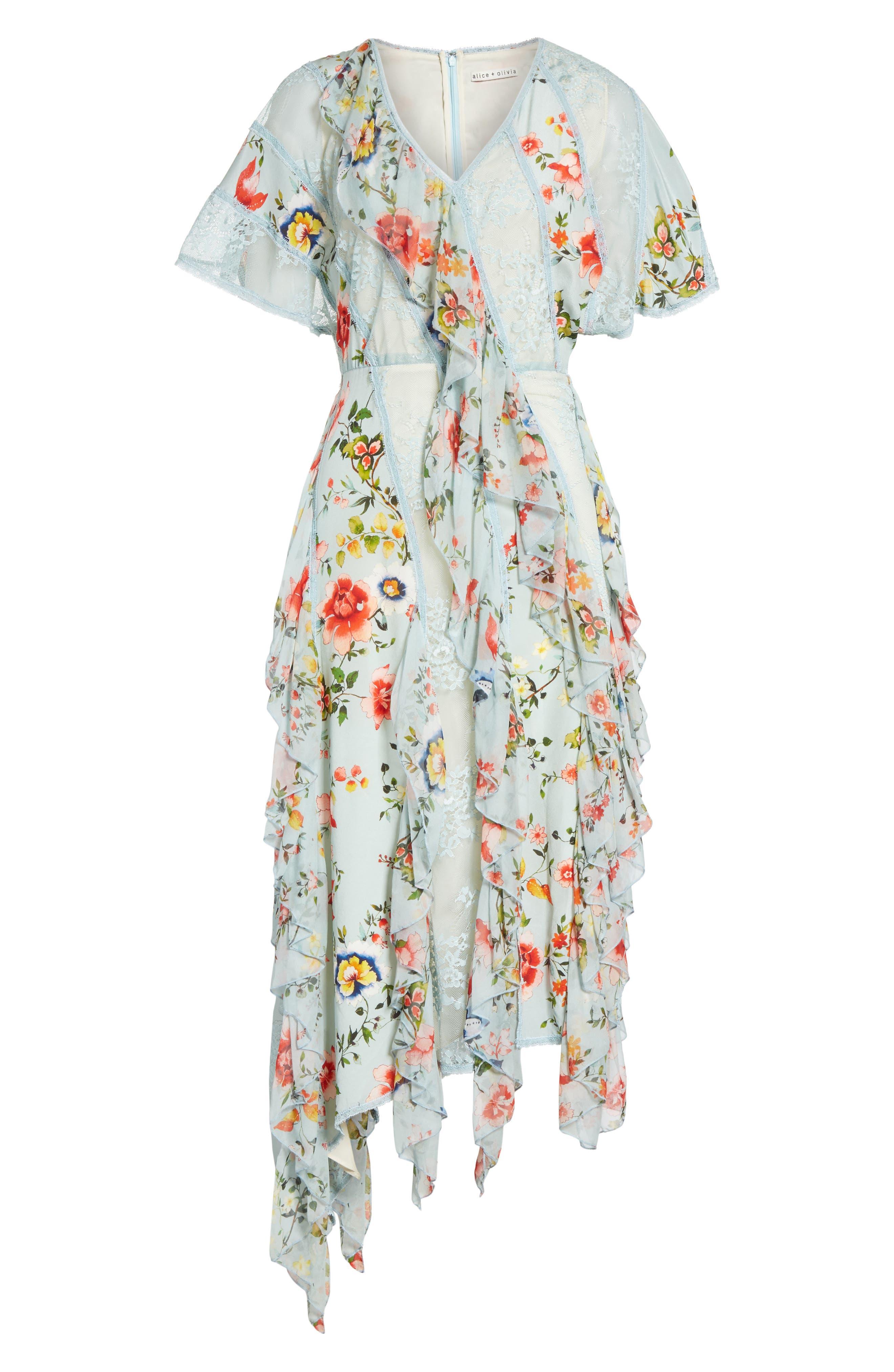 Kadence Ruffled Silk & Lace Midi Dress,                             Alternate thumbnail 6, color,