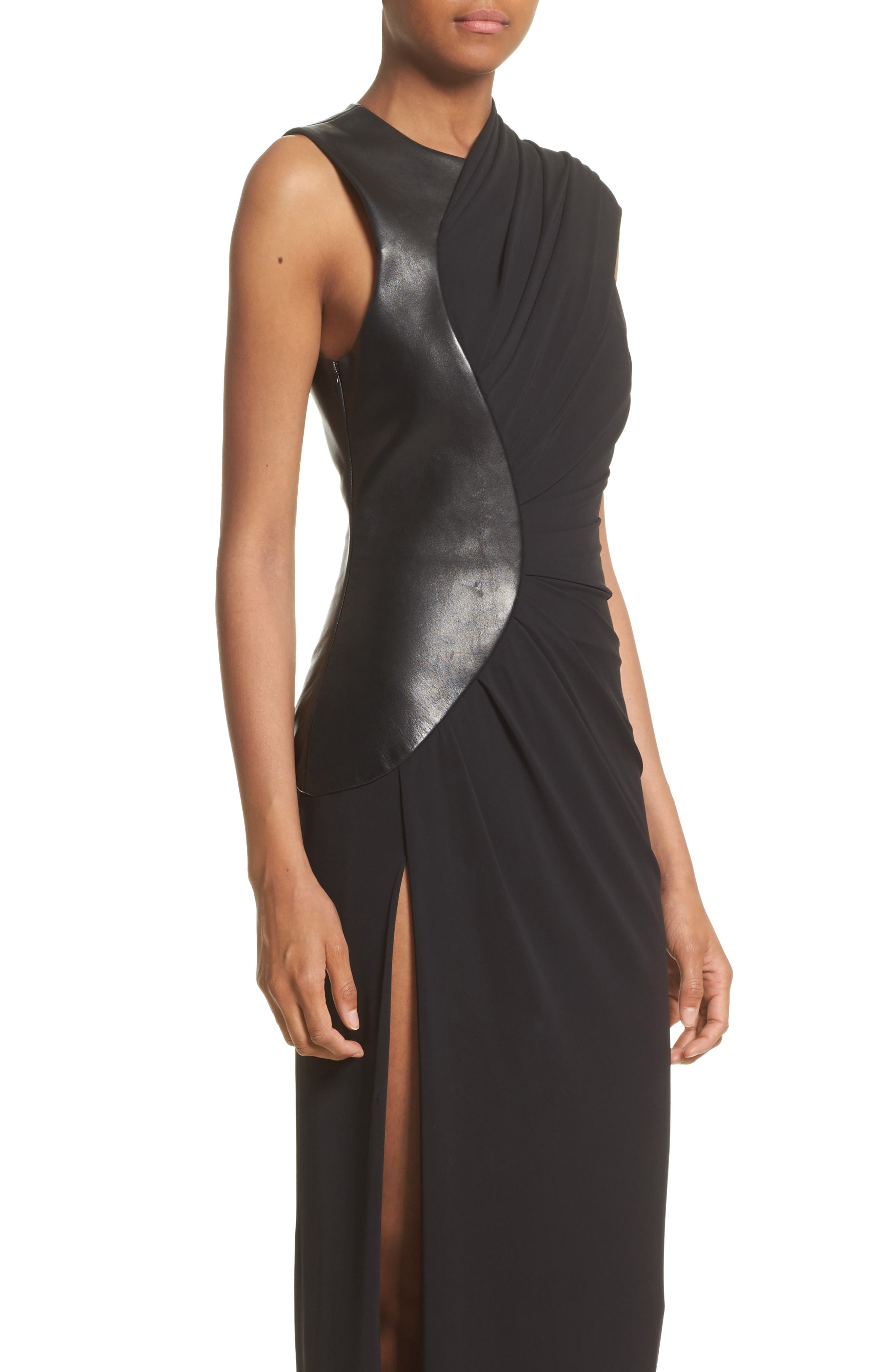 Draped Jersey & Leather Gown,                             Alternate thumbnail 4, color,