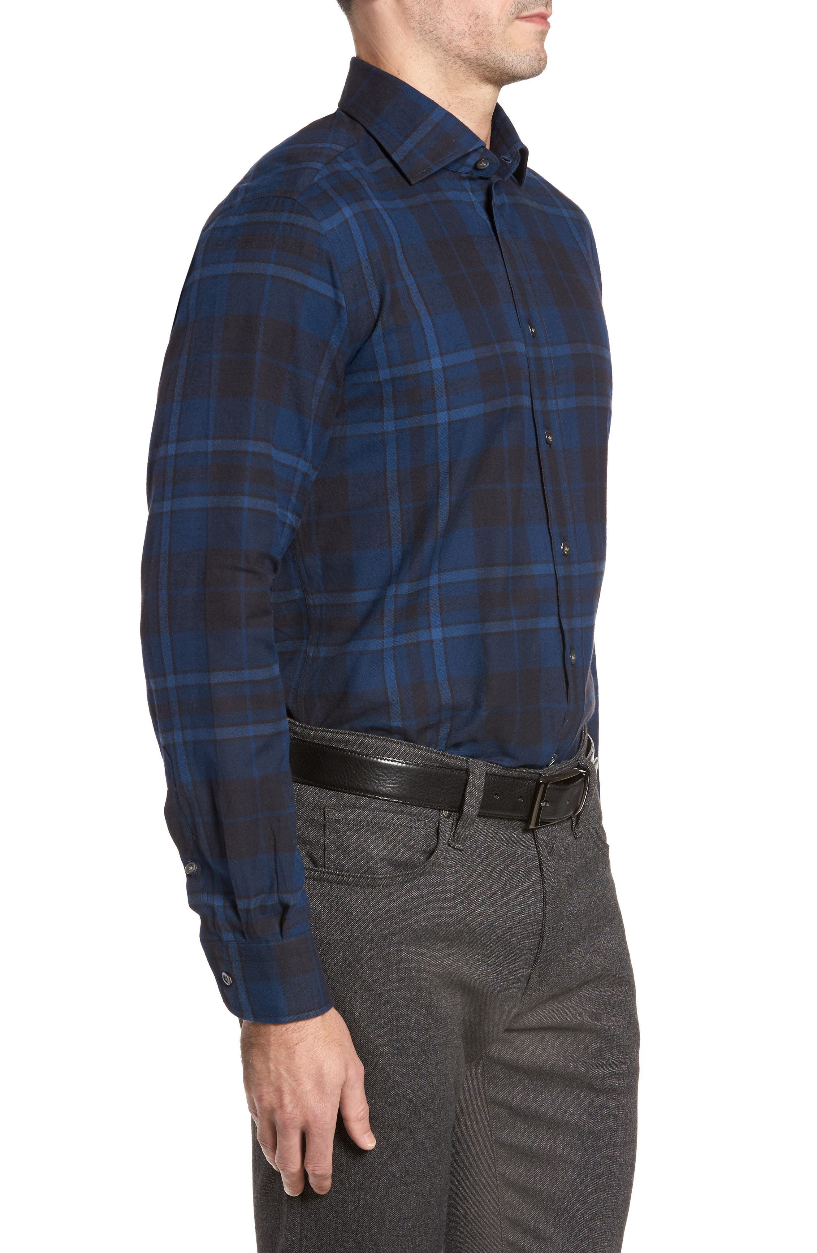 Trim Fit Plaid Sport Shirt,                             Alternate thumbnail 3, color,                             421