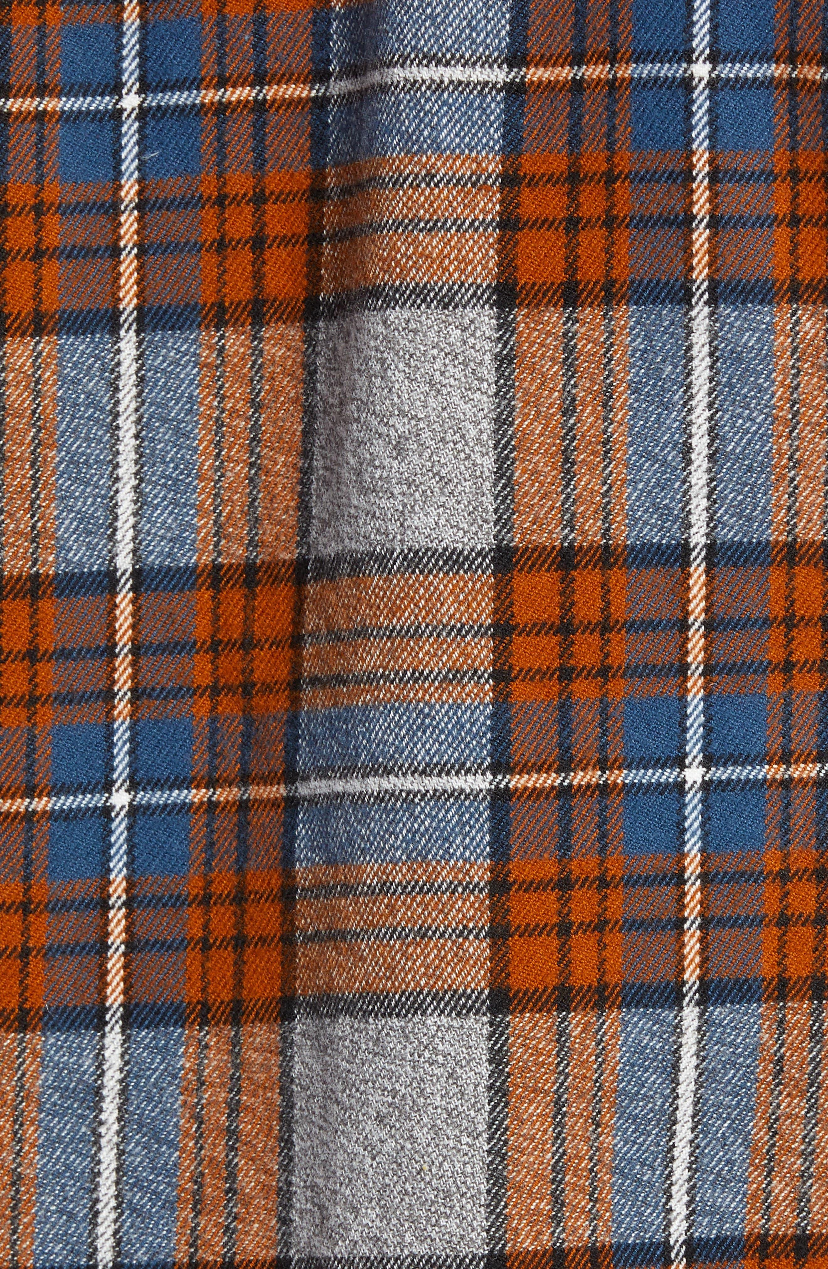 Regular Fit Workwear Plaid Flannel Shirt,                             Alternate thumbnail 5, color,                             RUST AUTUMN BLUE PLAID