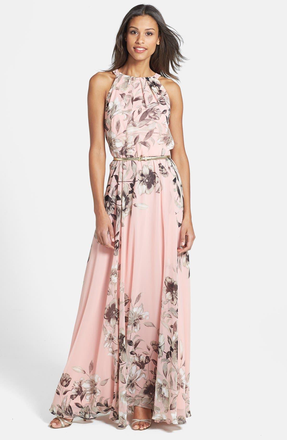 Belted Chiffon Maxi Dress,                             Main thumbnail 1, color,                             PINK MULTI