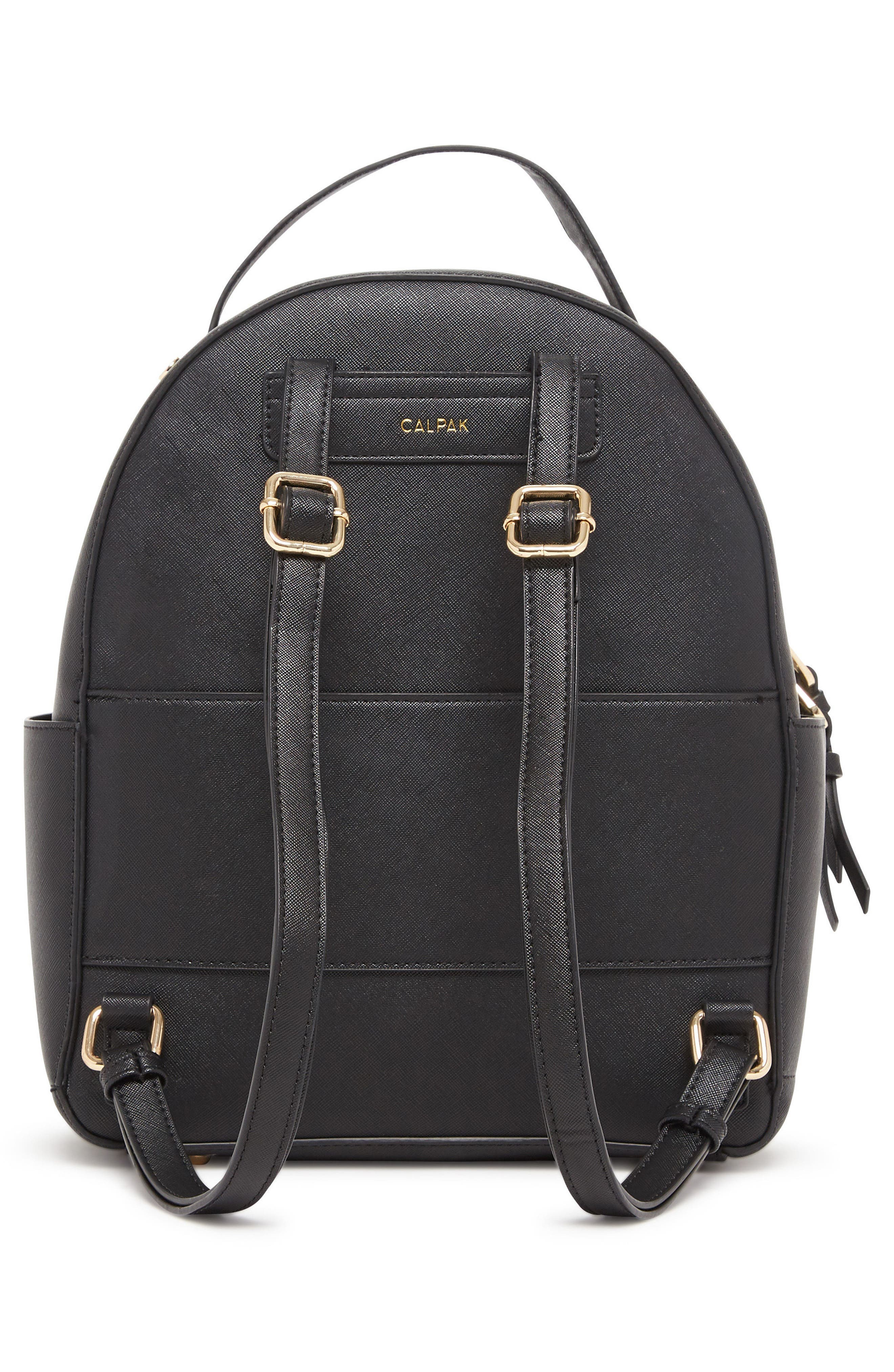 Kaya Faux Leather Round Backpack,                             Alternate thumbnail 2, color,                             BLACK