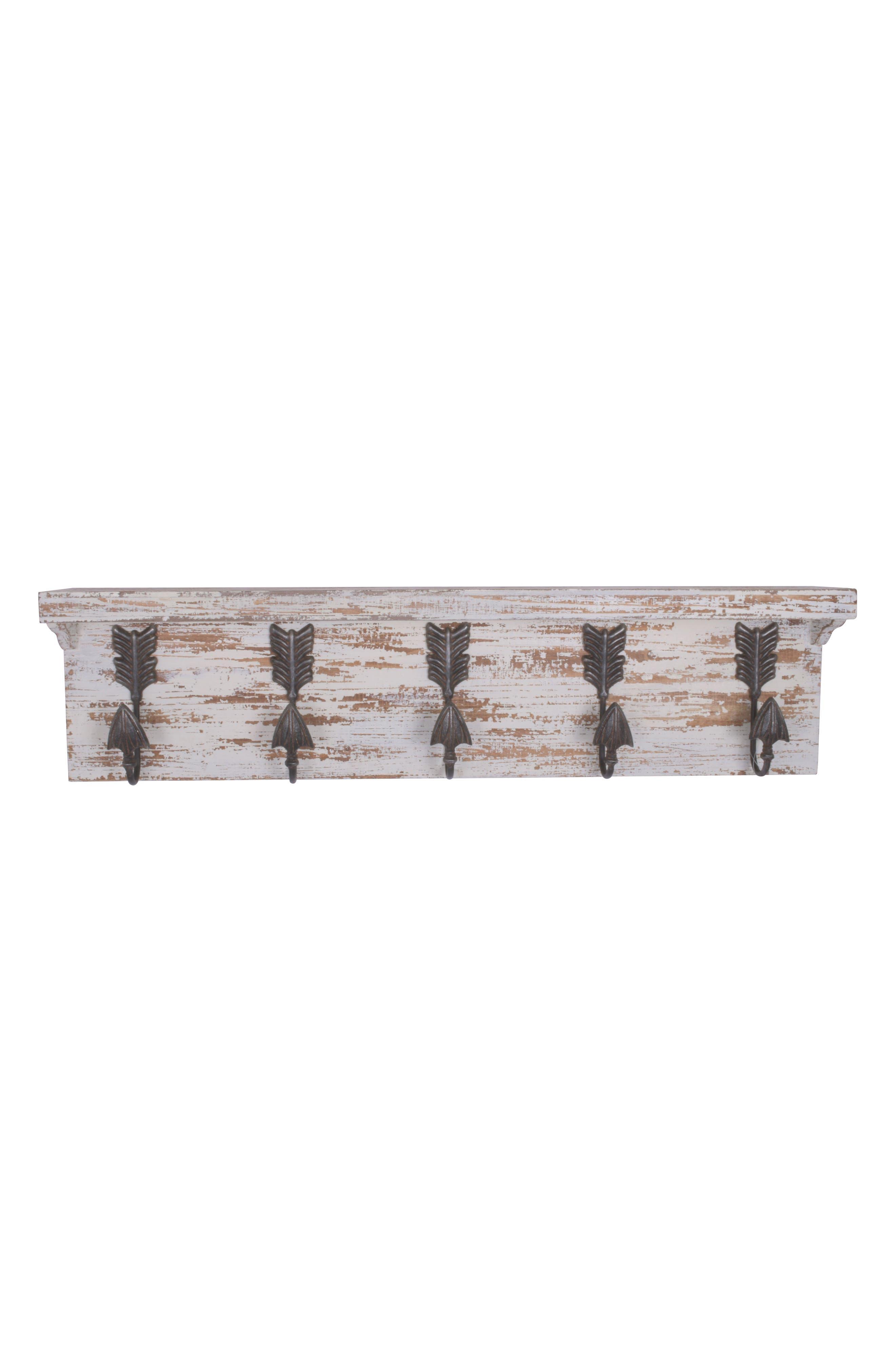 Wood & Metal Wall Shelf with Decorative Arrow Hooks,                         Main,                         color, 100