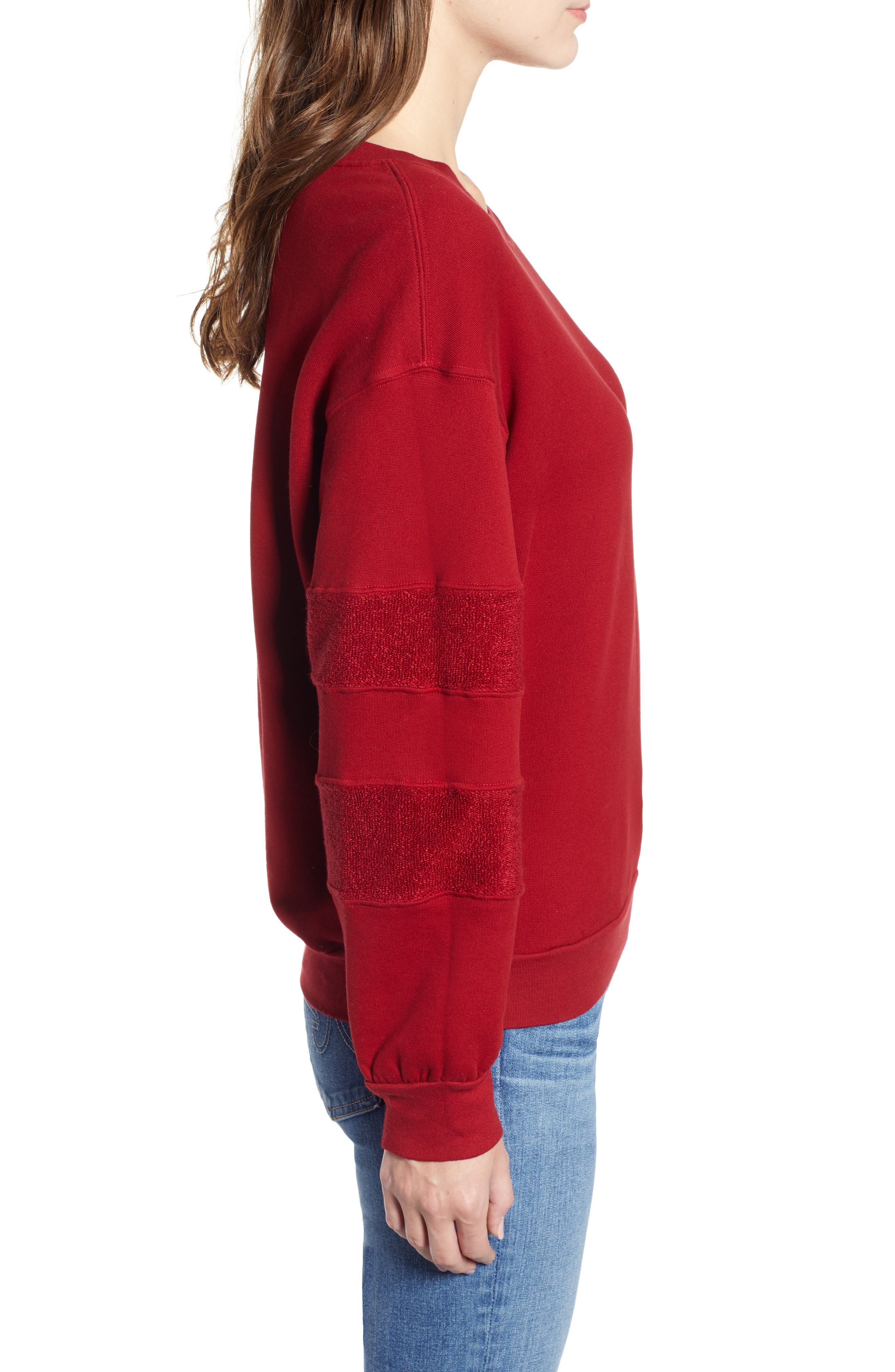 French Terry Stripe Sweatshirt,                             Alternate thumbnail 3, color,                             DEEP RED