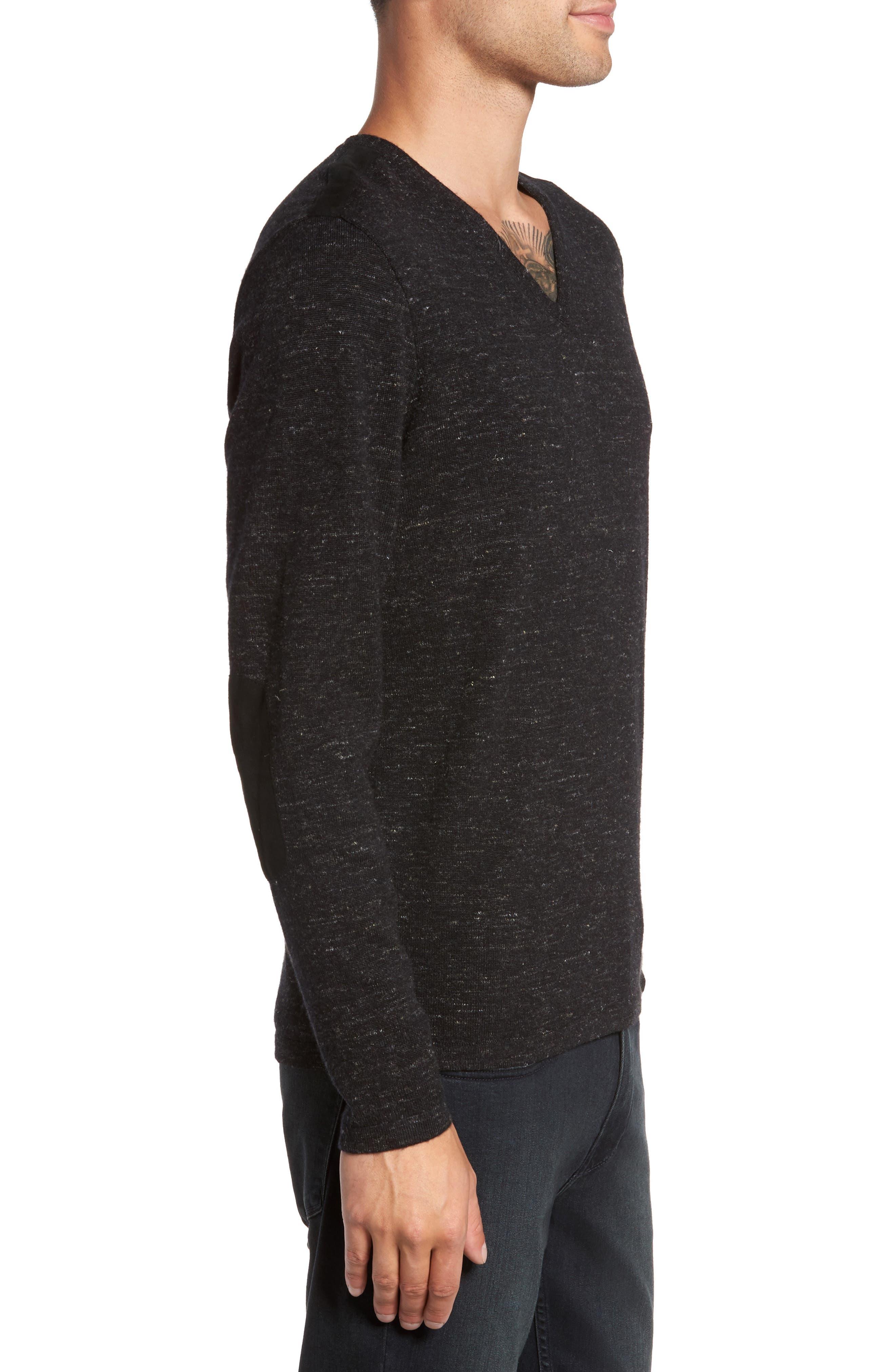 Long Sleeve V-Neck Sweater,                             Alternate thumbnail 3, color,                             001