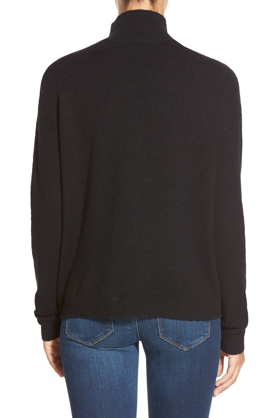 Pattern Front Mock Neck Sweater,                             Alternate thumbnail 2, color,                             001