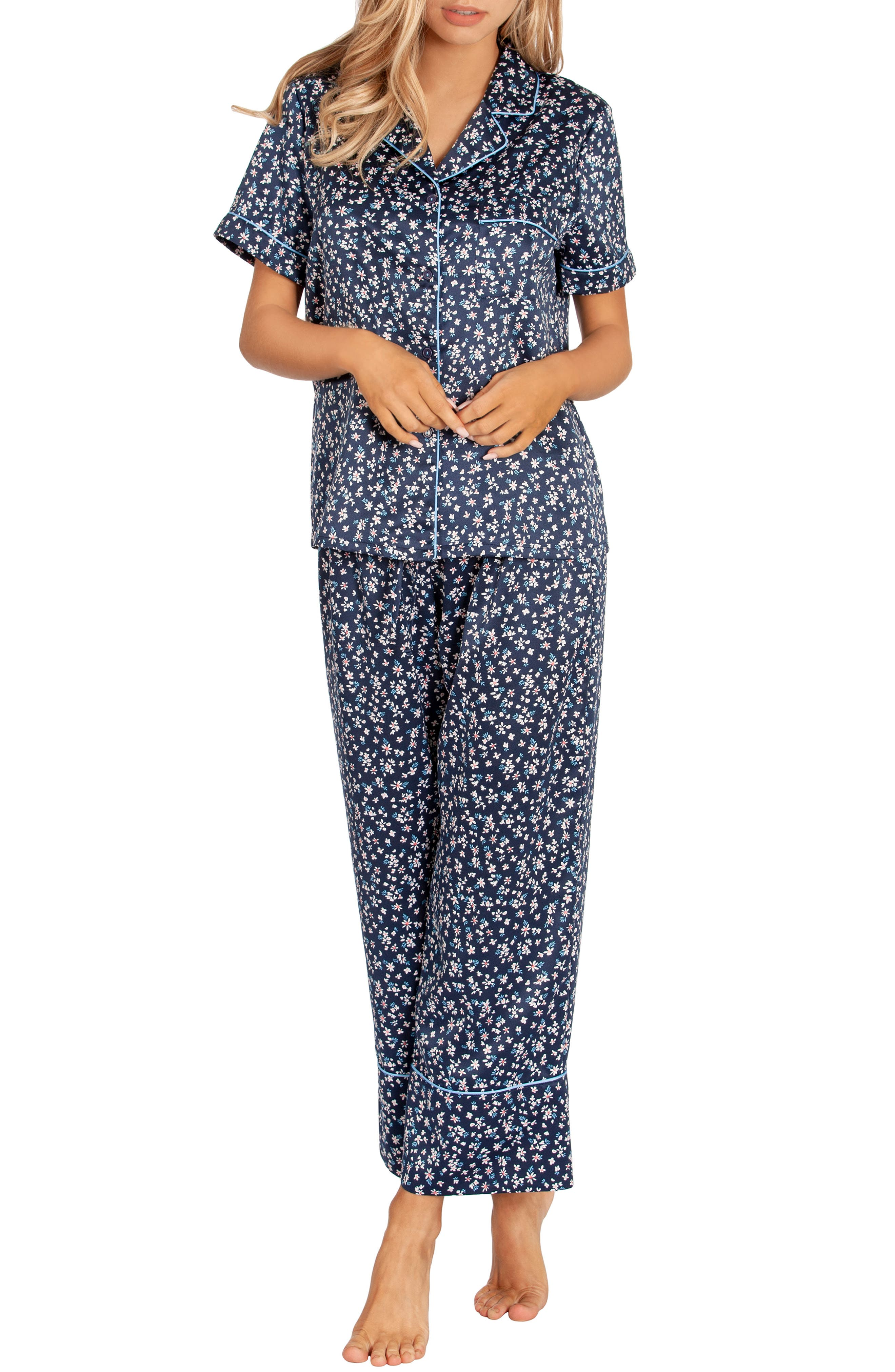 In Bloom By Jonquil Satin Crop Pajamas, Blue