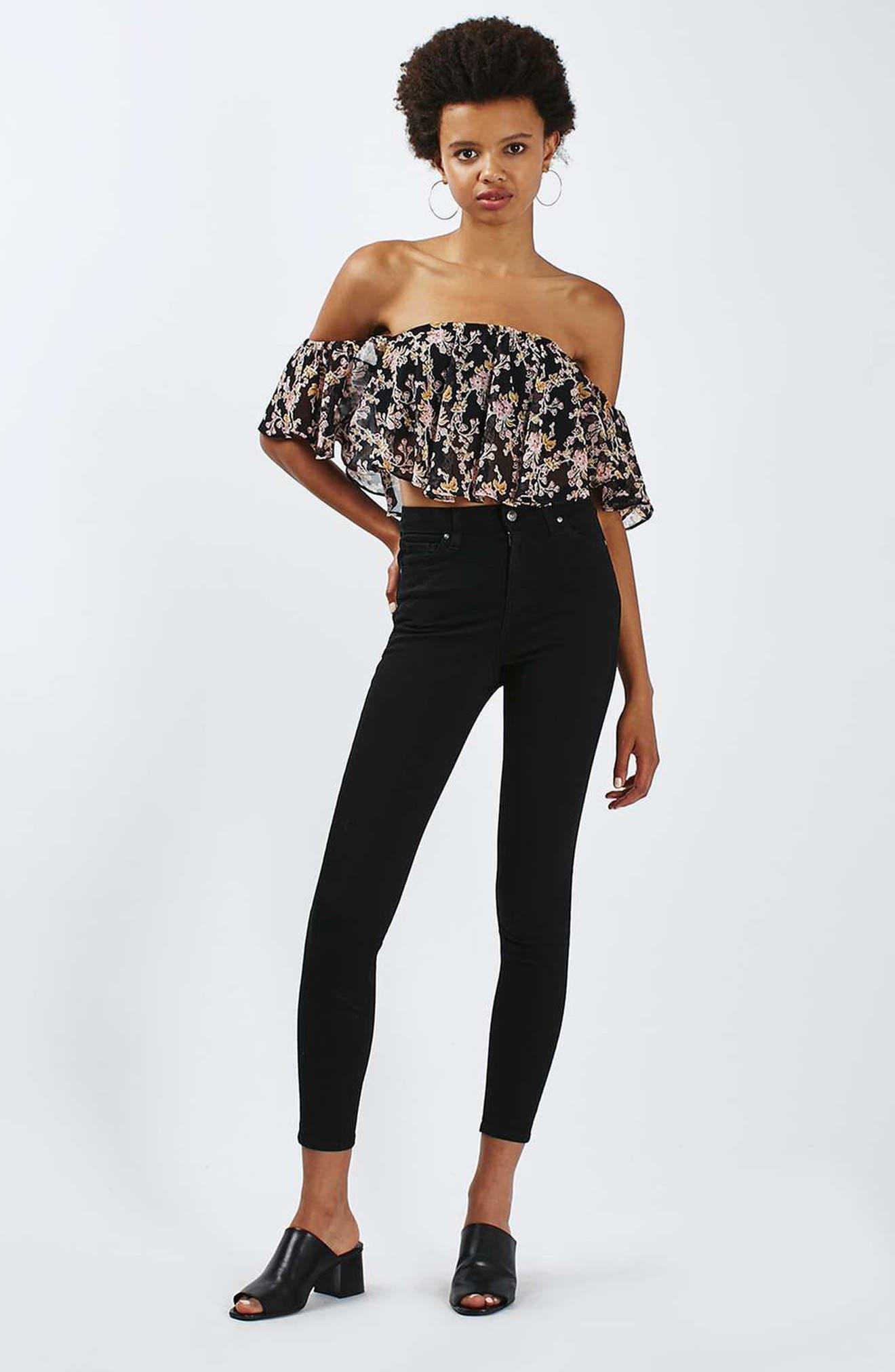Jamie High Waist Skinny Jeans,                             Alternate thumbnail 6, color,                             BLACK