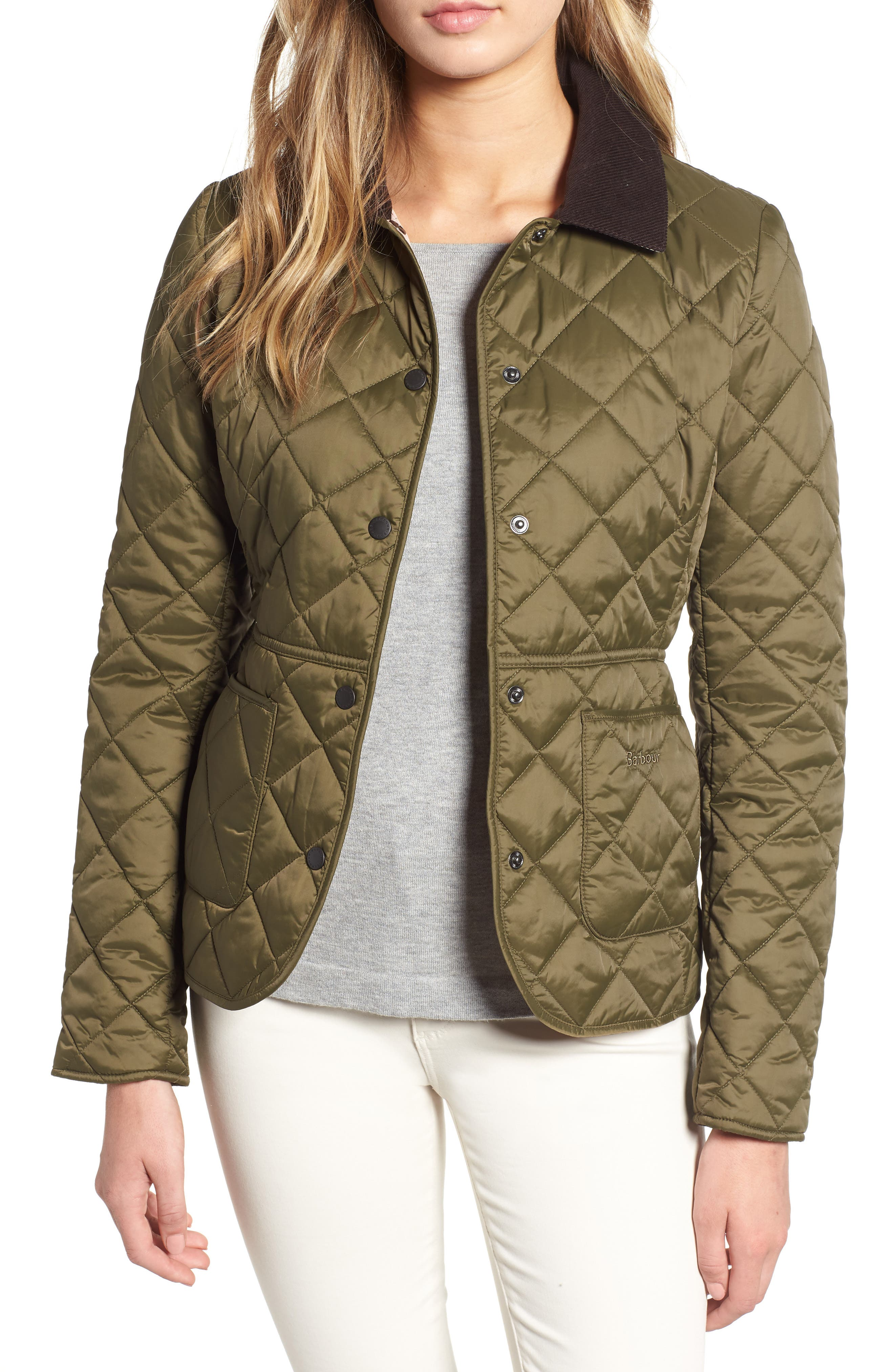 Barbour Deveron Quilted Jacket, 18 UK - Green