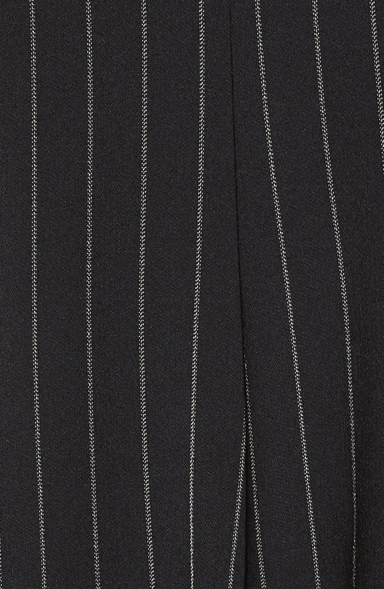 Pinstripe Tie Front Jumpsuit,                             Alternate thumbnail 6, color,                             001
