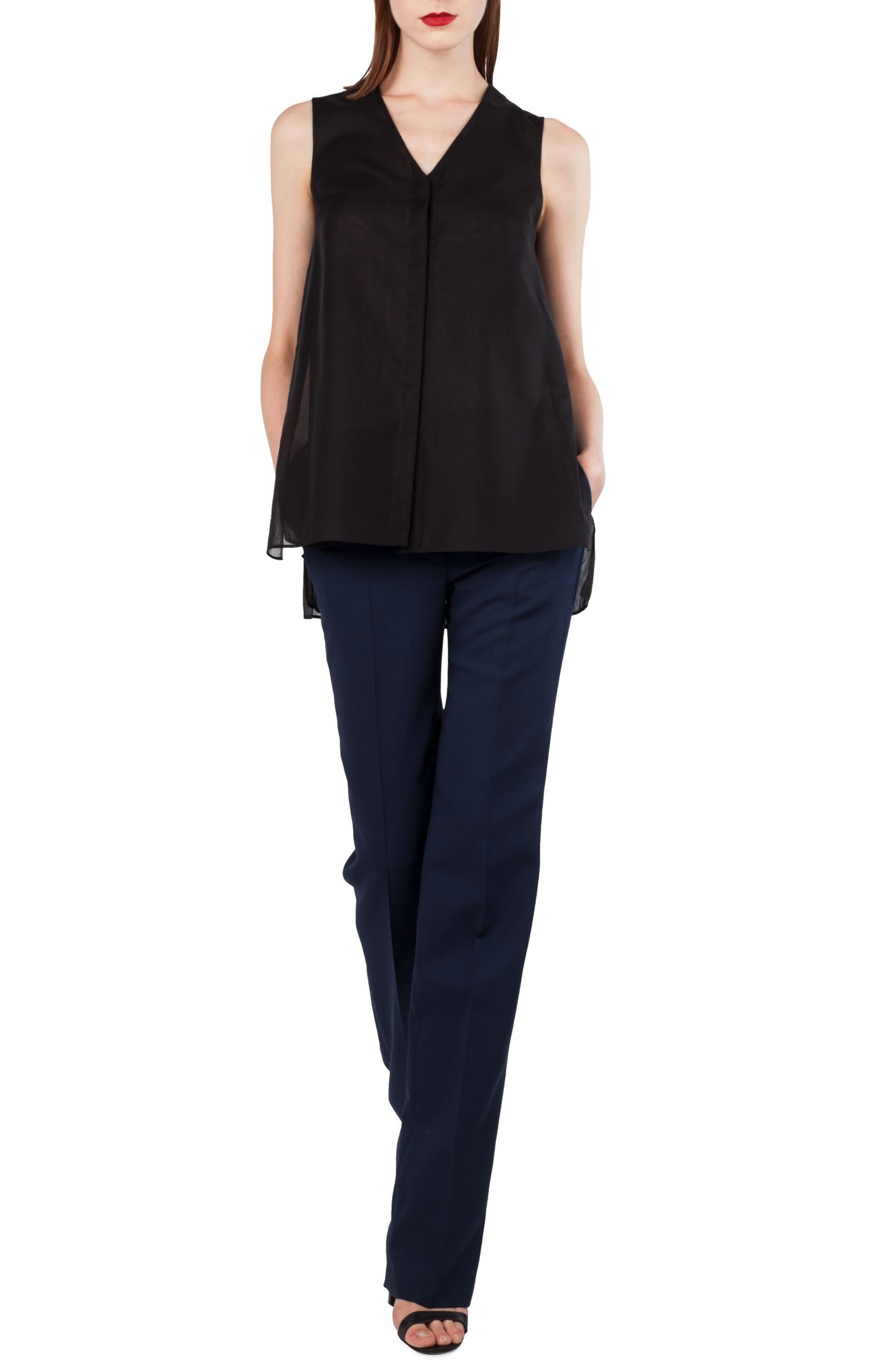 AKRIS,                             Carl Double Face Stretch Wool & Silk Trousers,                             Alternate thumbnail 3, color,                             DENIM BLACK