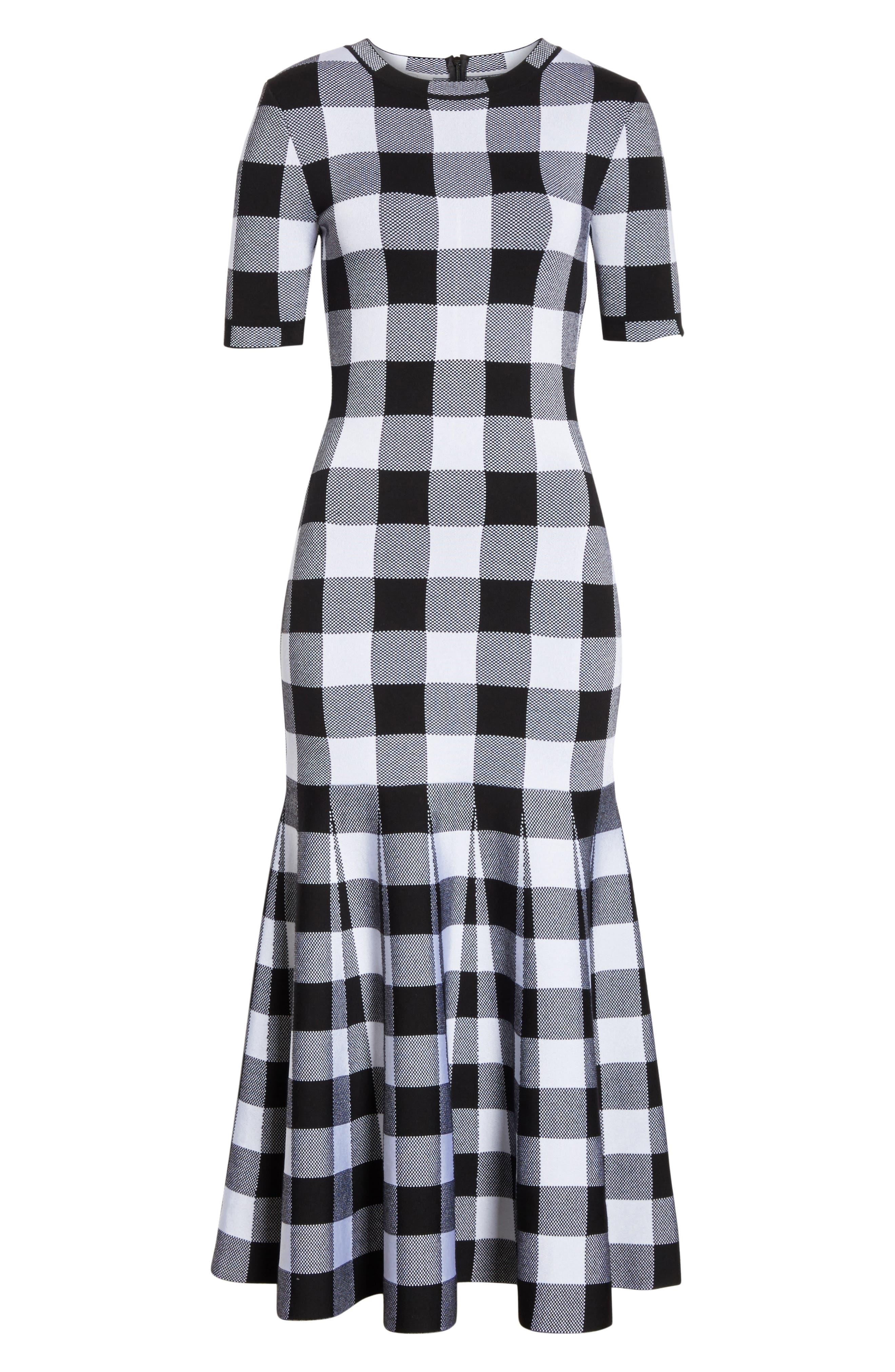 Buffalo Check Knit Flare Hem Dress,                             Alternate thumbnail 6, color,                             001