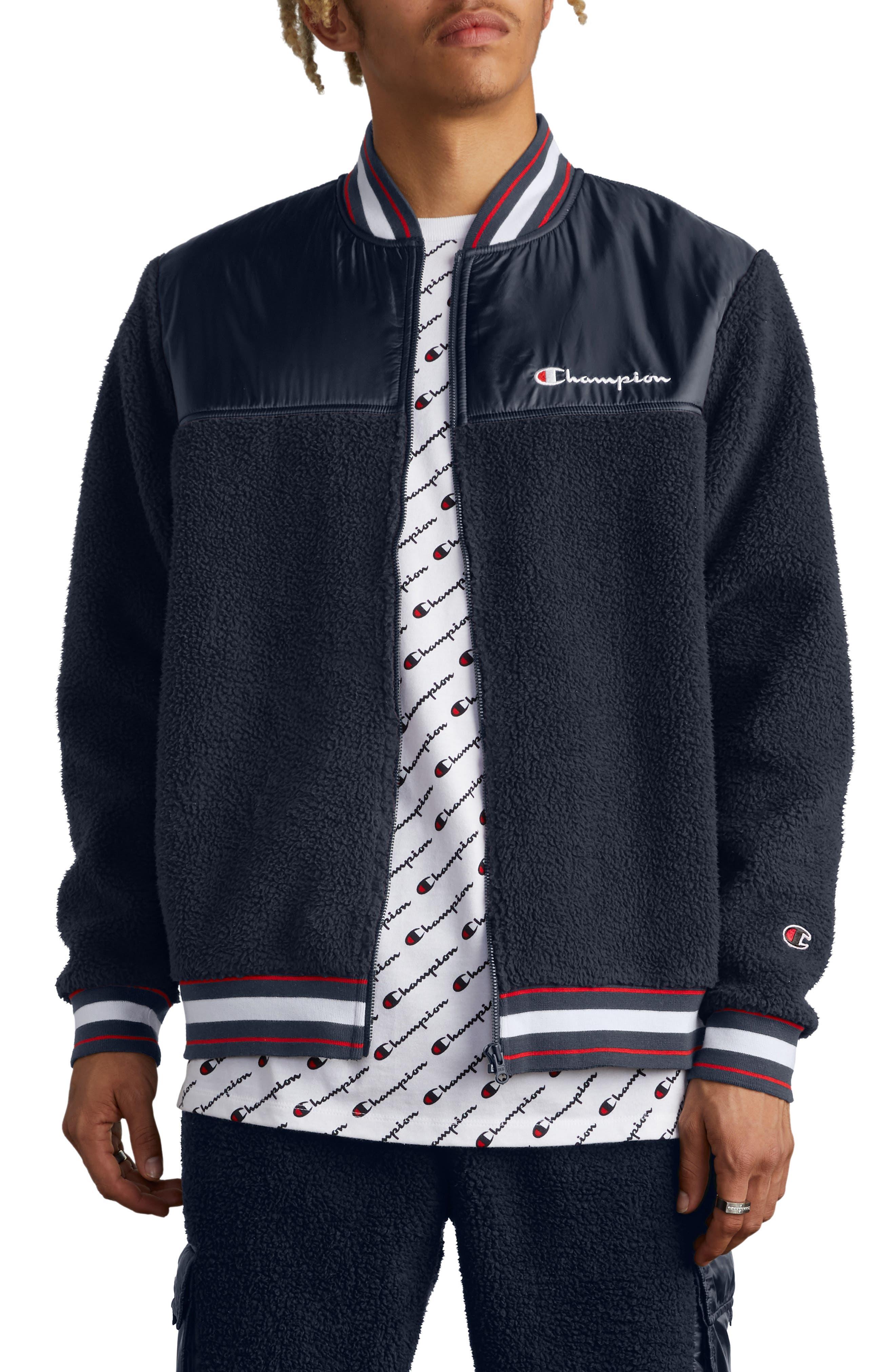 Fleece Baseball Jacket,                         Main,                         color, NAVY