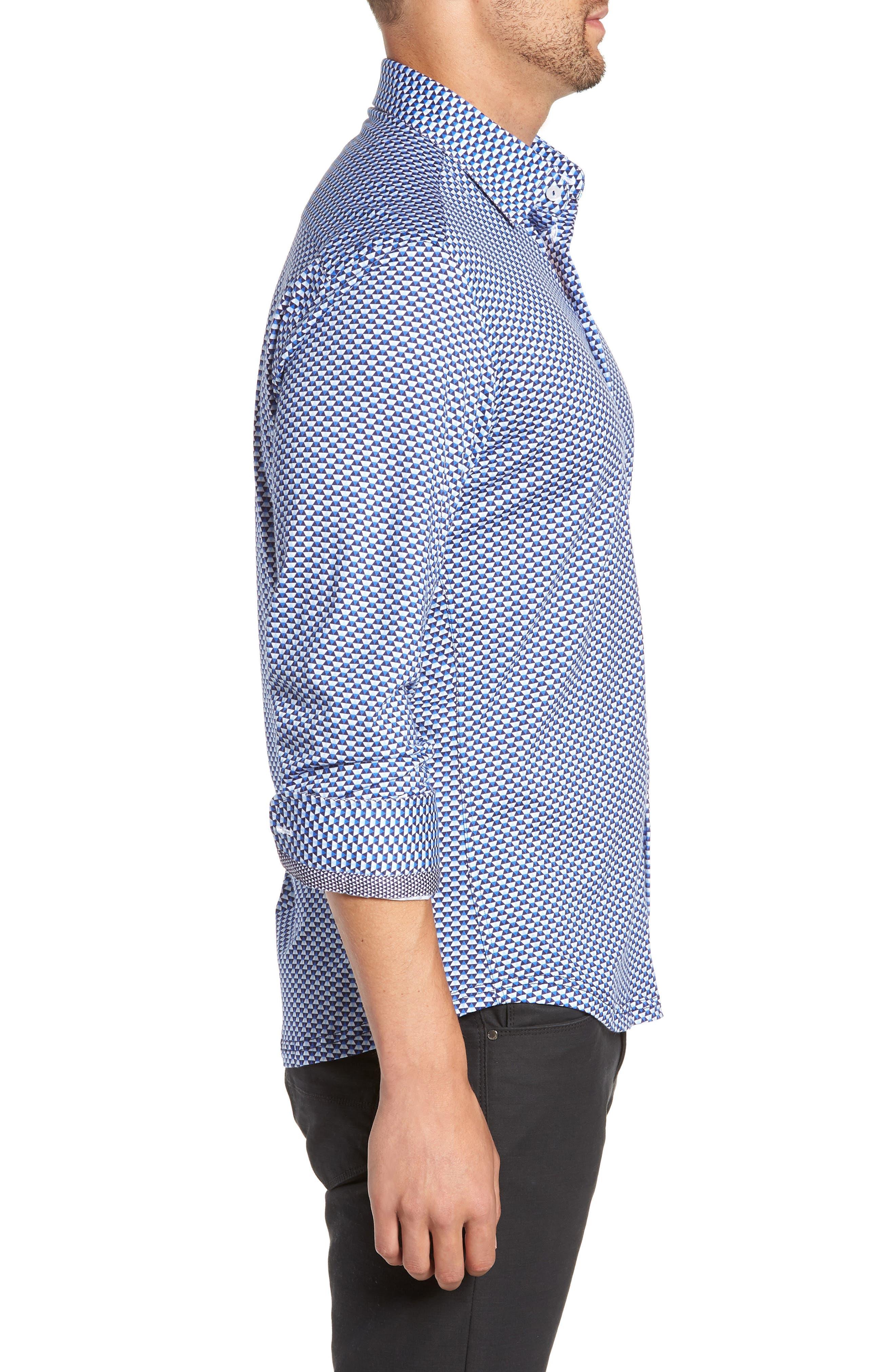 Trim Fit Knit Sport Shirt,                             Alternate thumbnail 4, color,                             WHITE