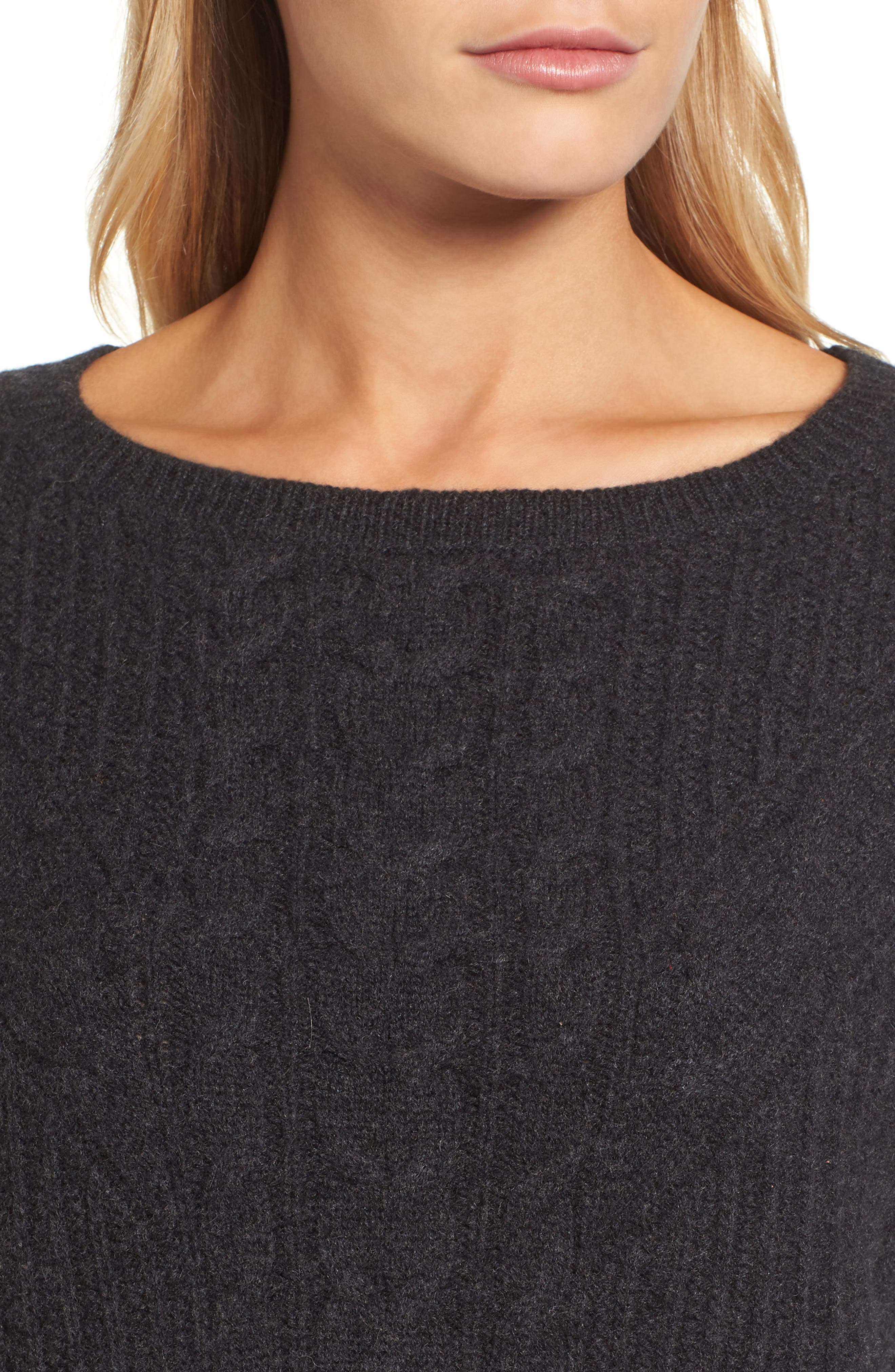 Cashmere Cable Tunic Sweater,                             Alternate thumbnail 4, color,                             021