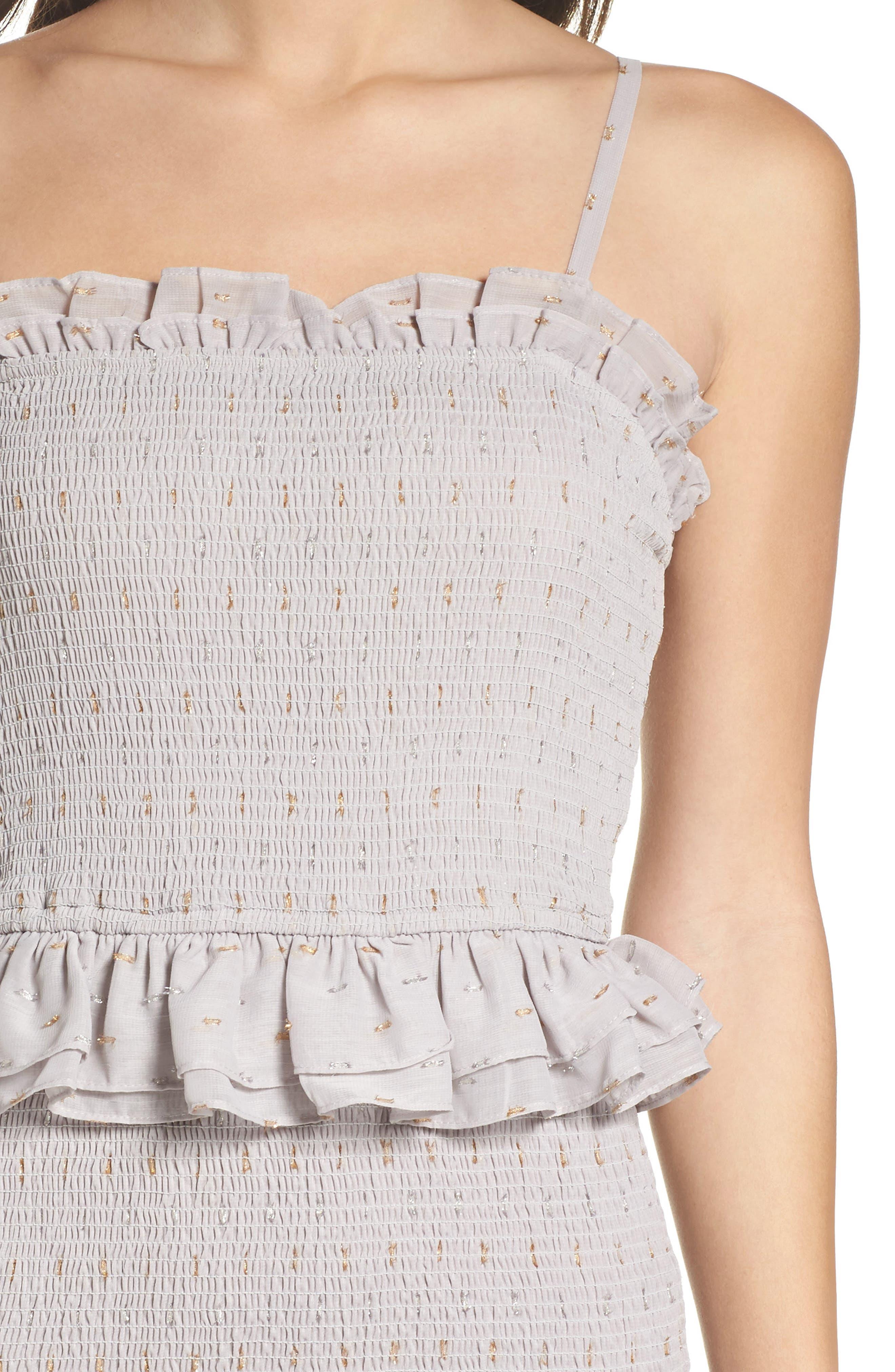 Grey Violet Smocked Midi Dress,                             Alternate thumbnail 4, color,