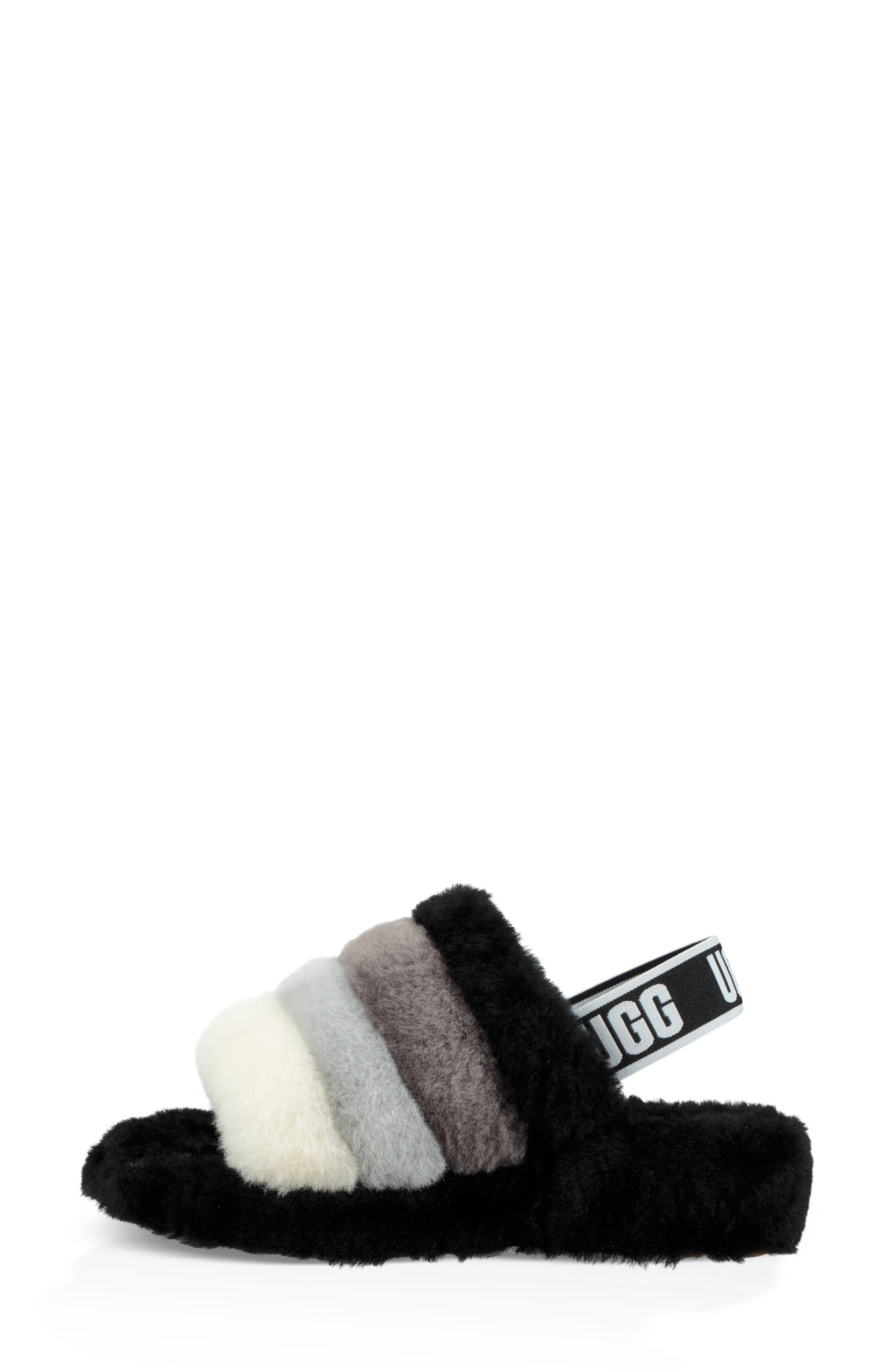 Fluff Yeah Genuine Shearling Slide Slipper,                             Alternate thumbnail 6, color,                             BLACK MULTI