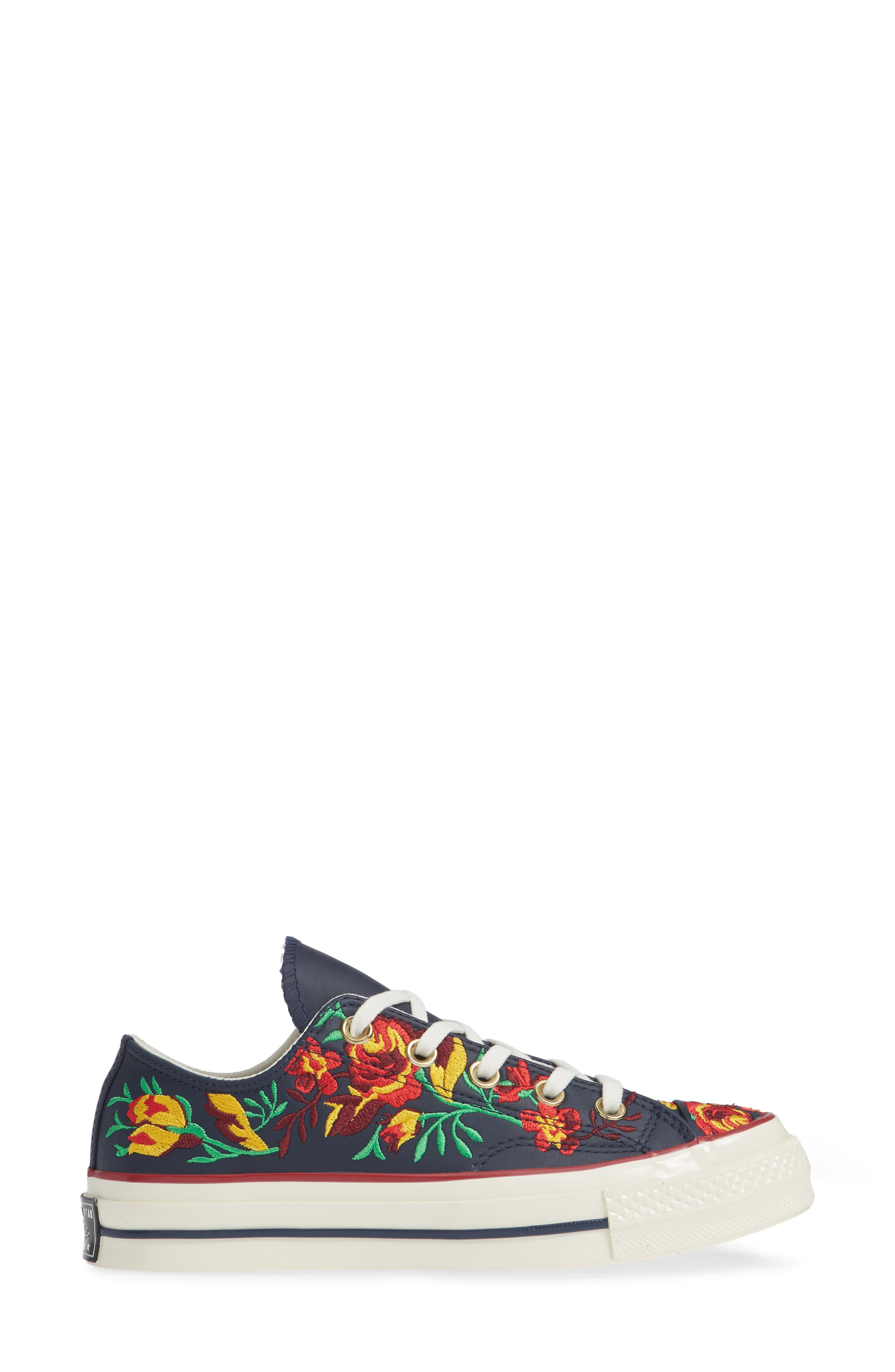 Chuck Taylor<sup>®</sup> All Star<sup>®</sup> Parkway Floral 70 Low Top Sneaker,                             Alternate thumbnail 3, color,                             OBSIDIAN/ CHERRY LEATHER