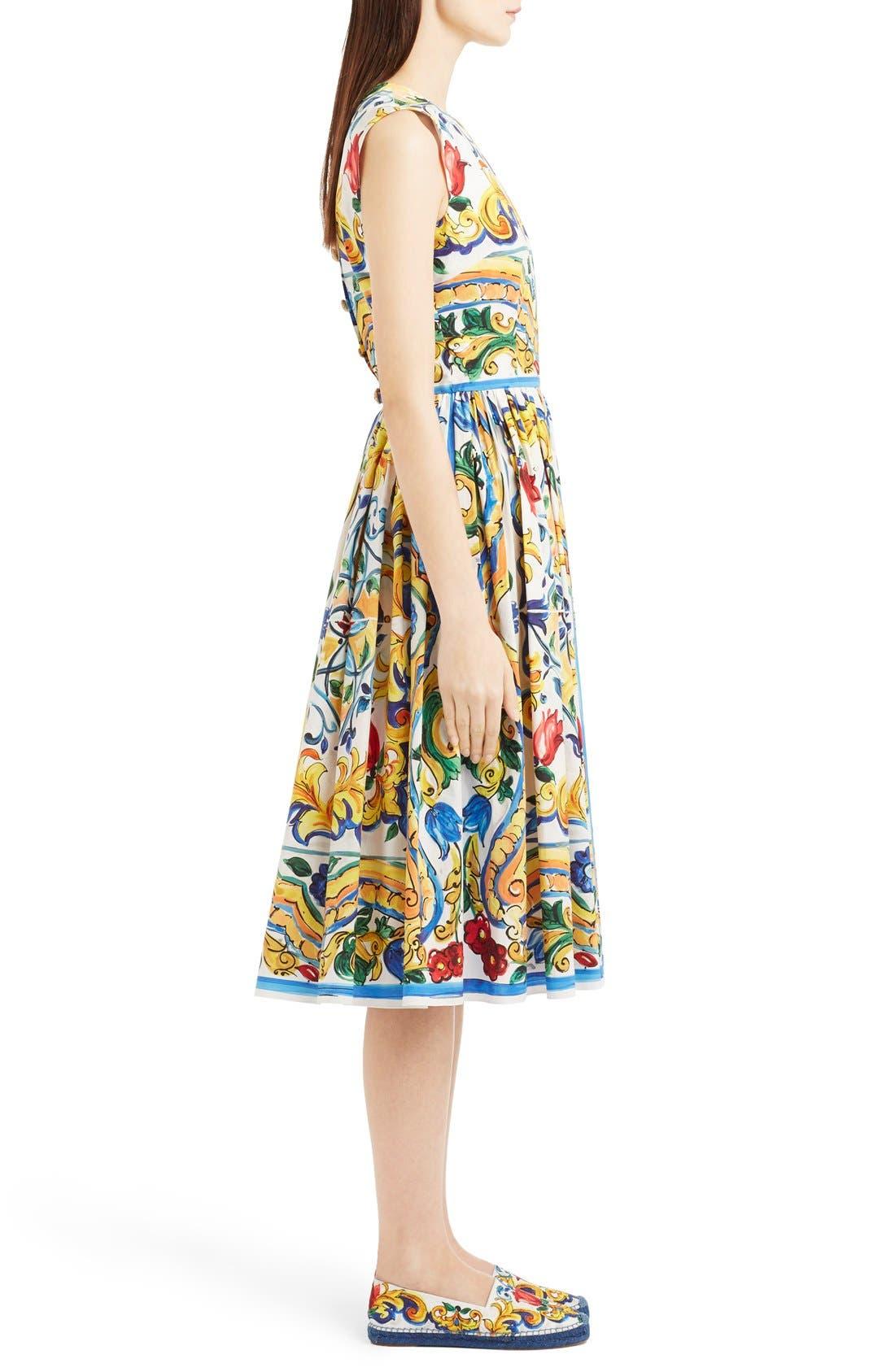 'Majolica' Tile Print Cotton Poplin Dress,                             Alternate thumbnail 6, color,                             700