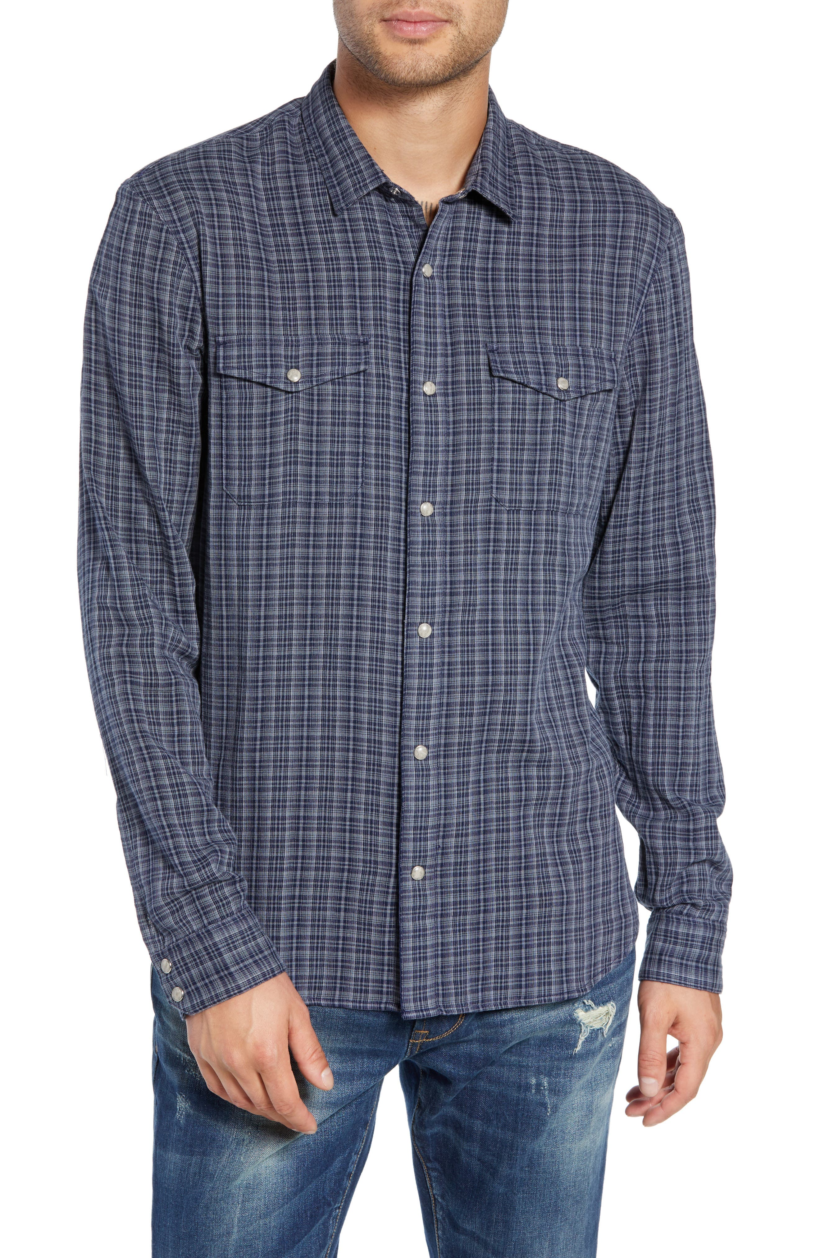 Regular Fit Double Pocket Sport Shirt,                         Main,                         color, NIGHT SKY