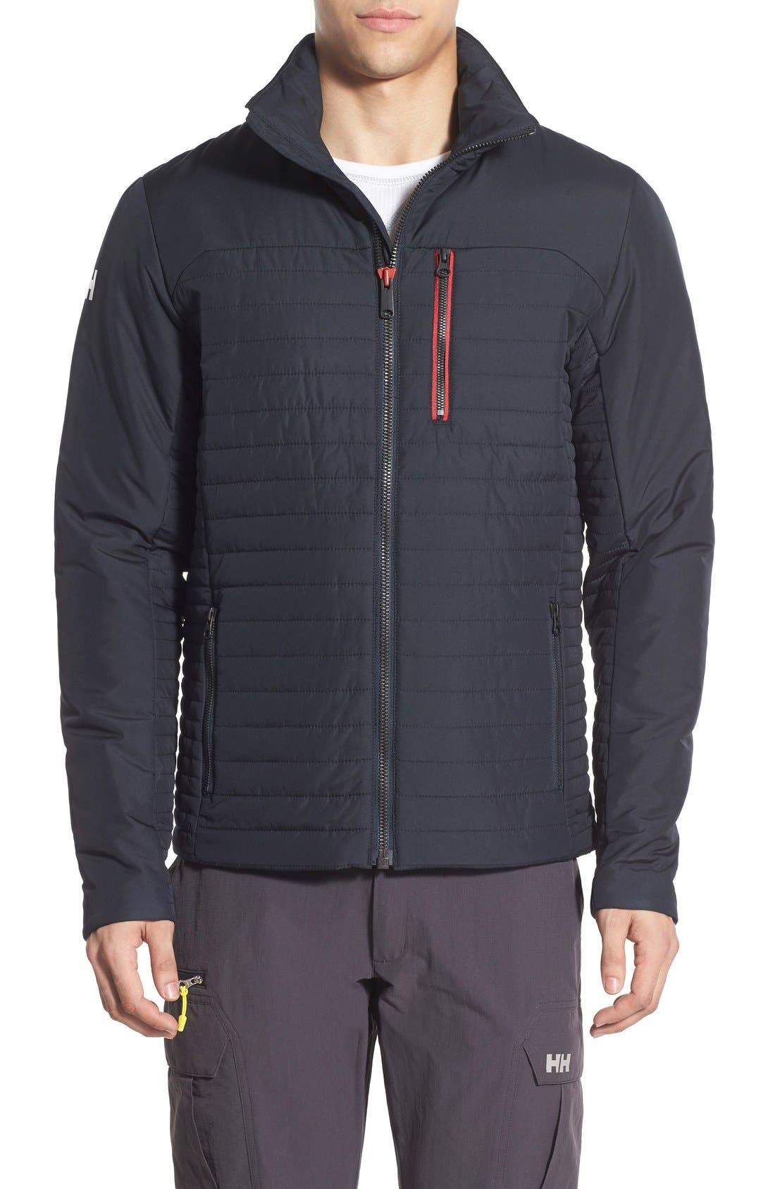 'Crew' Water & Wind Resistant Primaloft<sup>®</sup> Jacket,                             Main thumbnail 1, color,                             NAVY