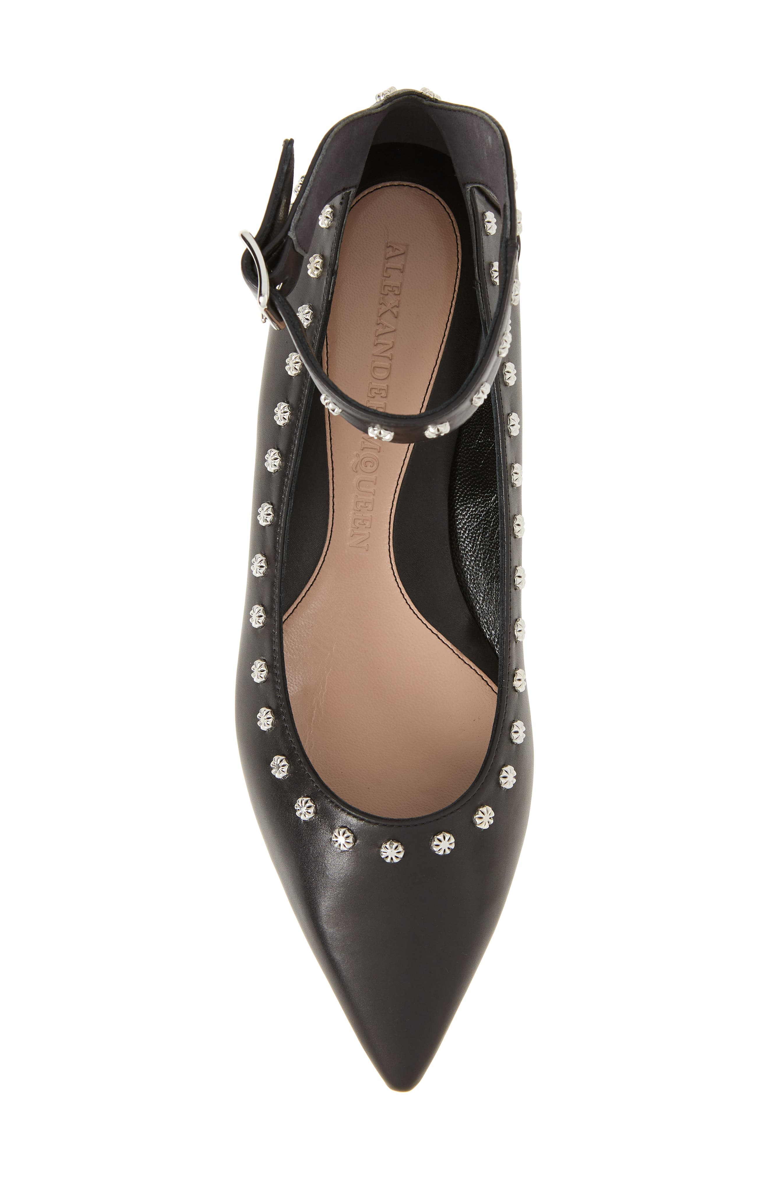 Studded Ankle Strap Flat,                             Alternate thumbnail 5, color,                             001
