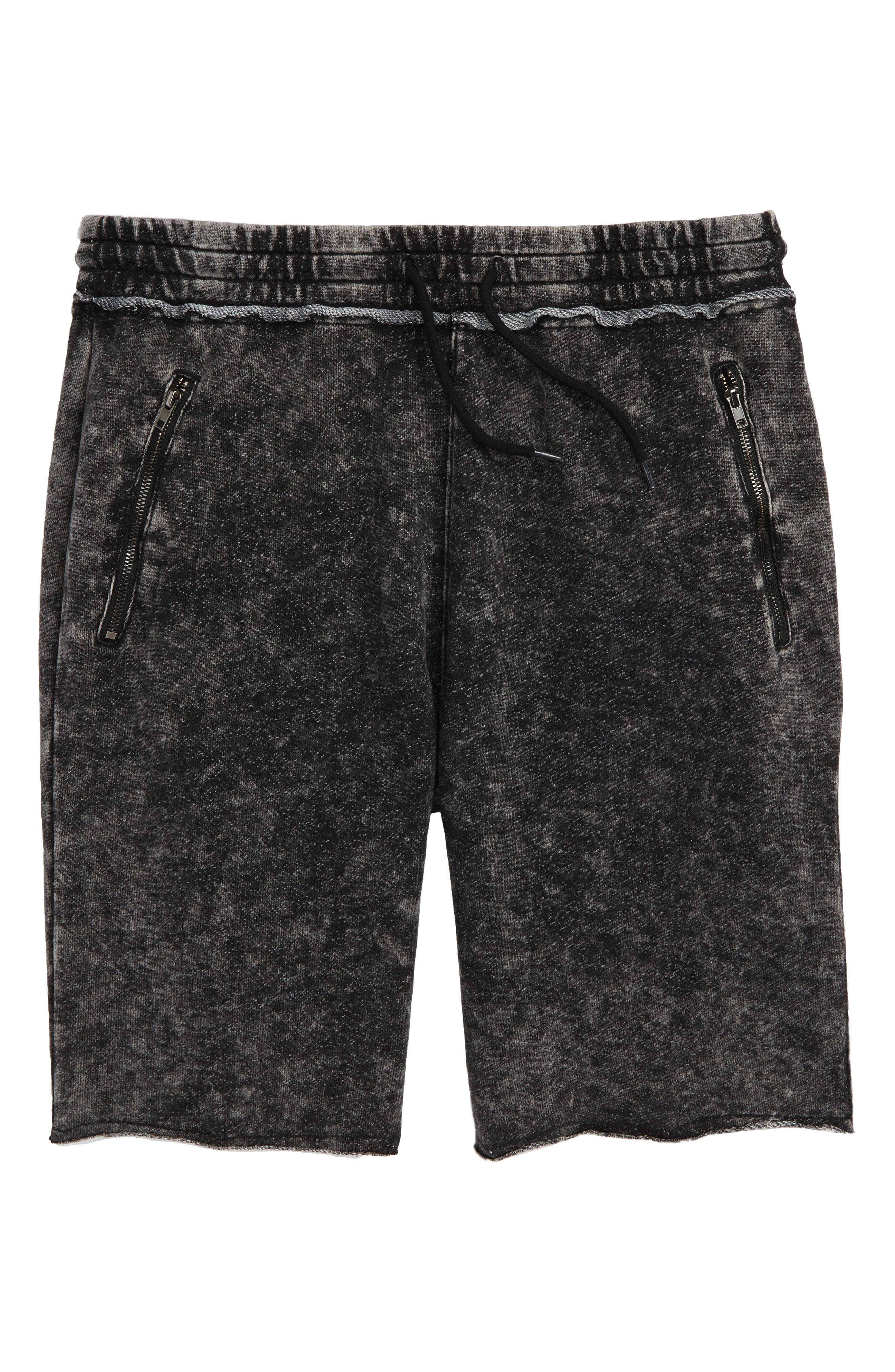 Raw Edge Knit Shorts,                         Main,                         color, 001
