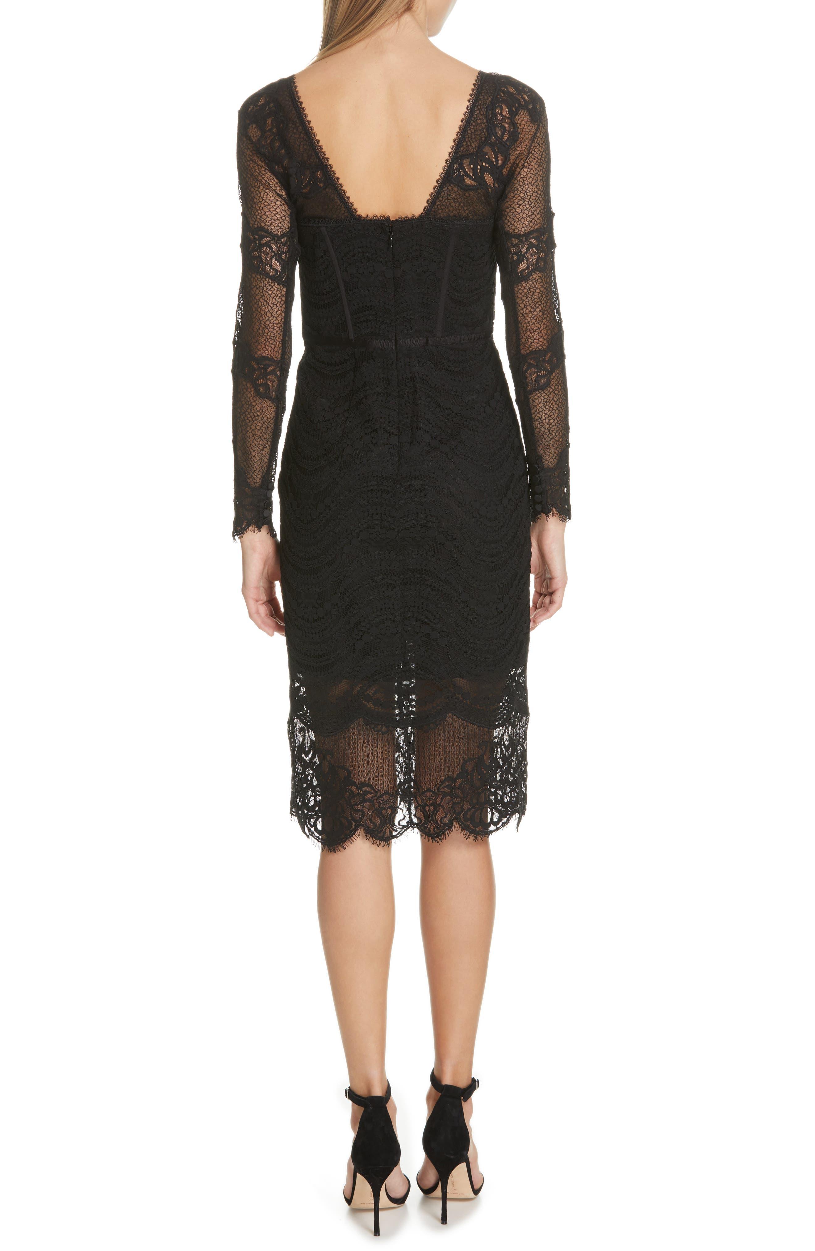 JONATHAN SIMKHAI,                             Lace Bustier Bodysuit Dress,                             Alternate thumbnail 2, color,                             BLACK