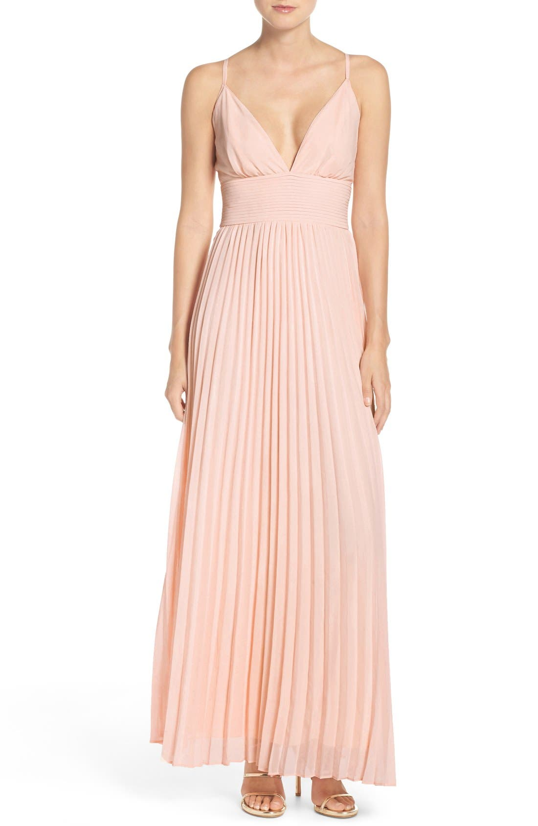 Plunging V-Neck Pleat Georgette Gown,                             Main thumbnail 10, color,