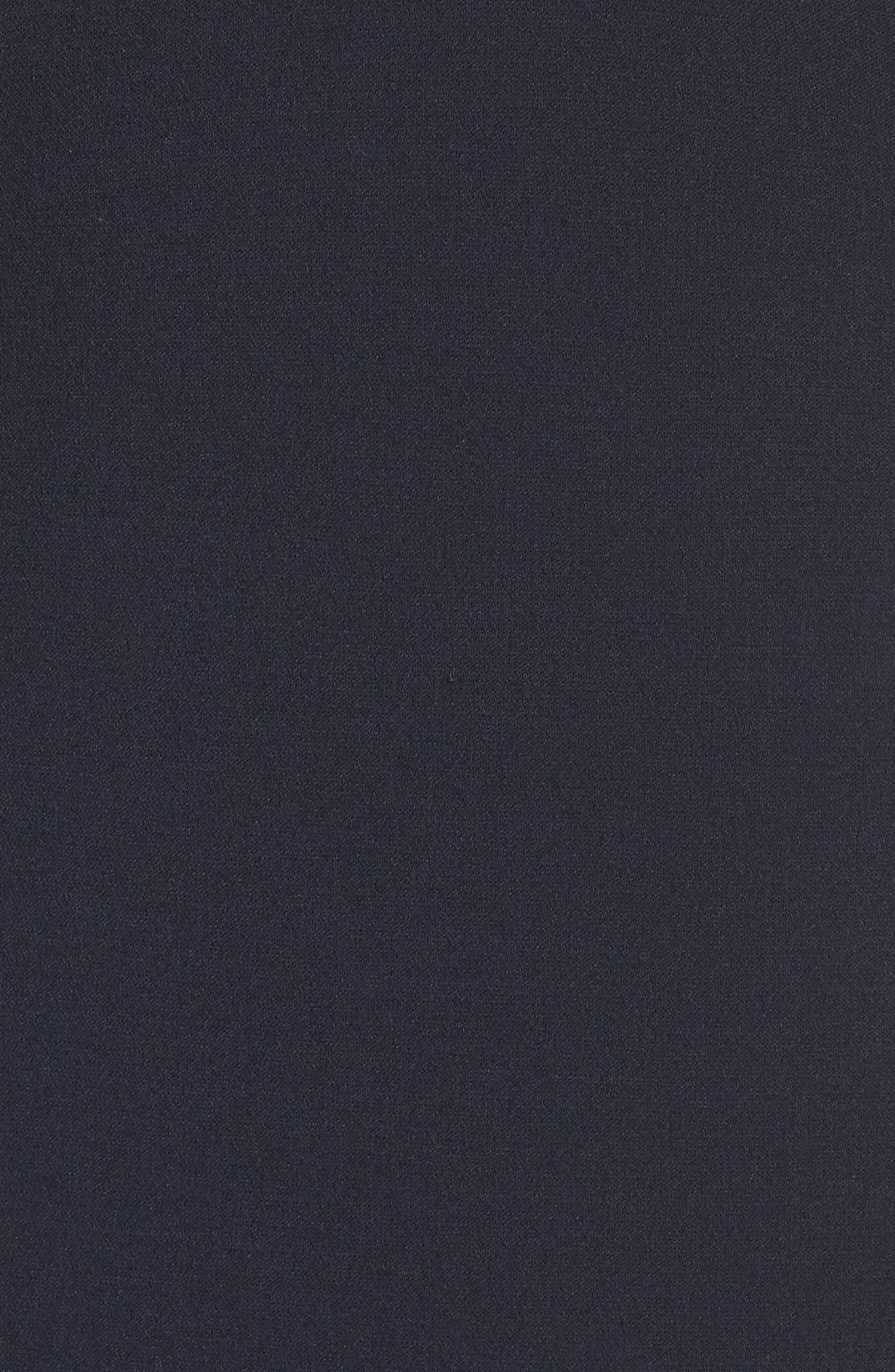 Illusion Flare Hem Midi Dress,                             Alternate thumbnail 5, color,                             DARK NAVY
