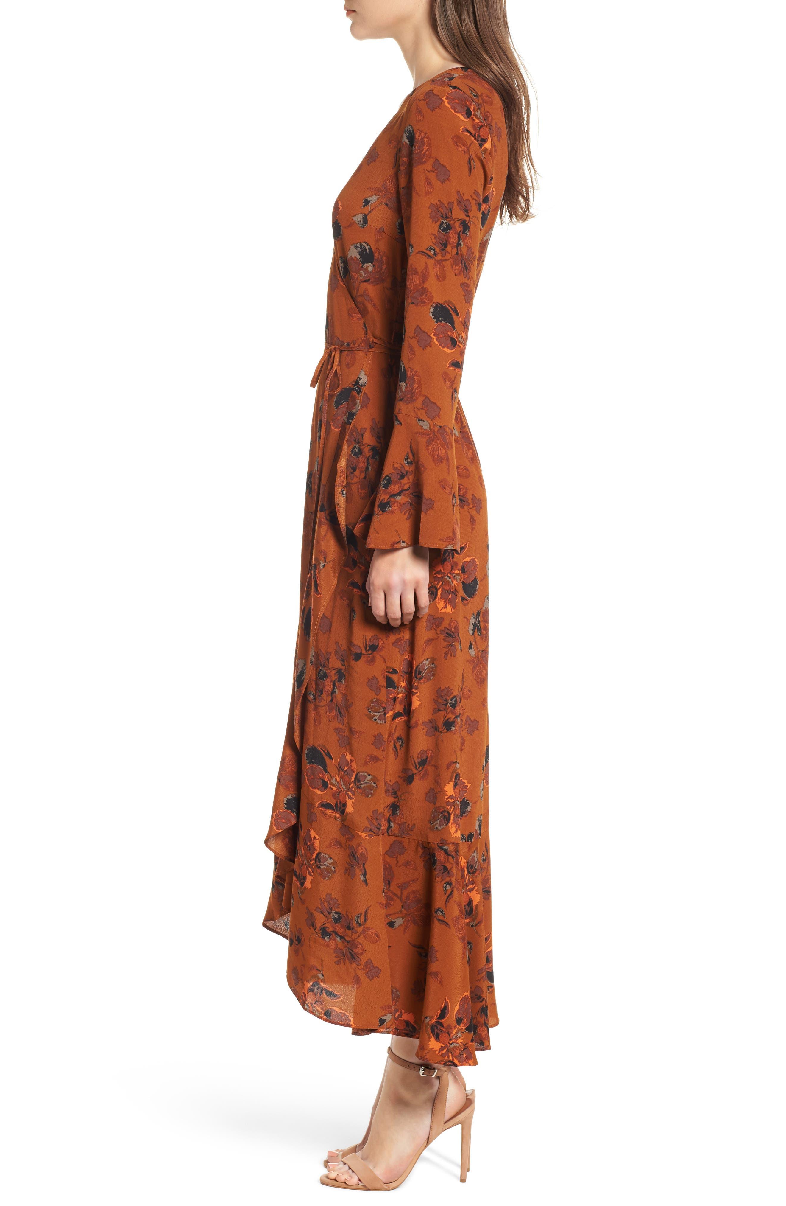 Bell Sleeve Wrap Midi Dress,                             Alternate thumbnail 3, color,                             RUST CARMEL FALL FOLIAGE