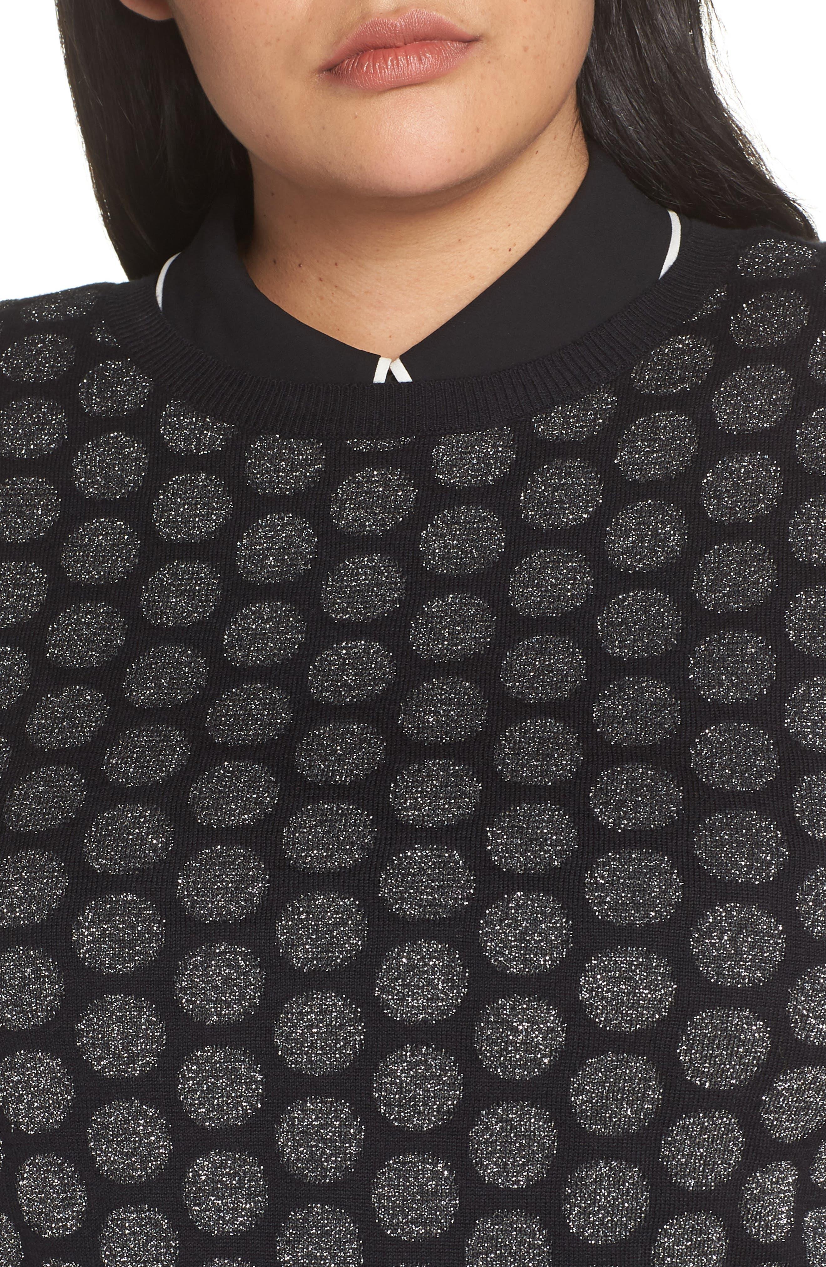 x Atlantic-Pacific Shimmer Dot Sweater,                             Alternate thumbnail 4, color,                             BLACK