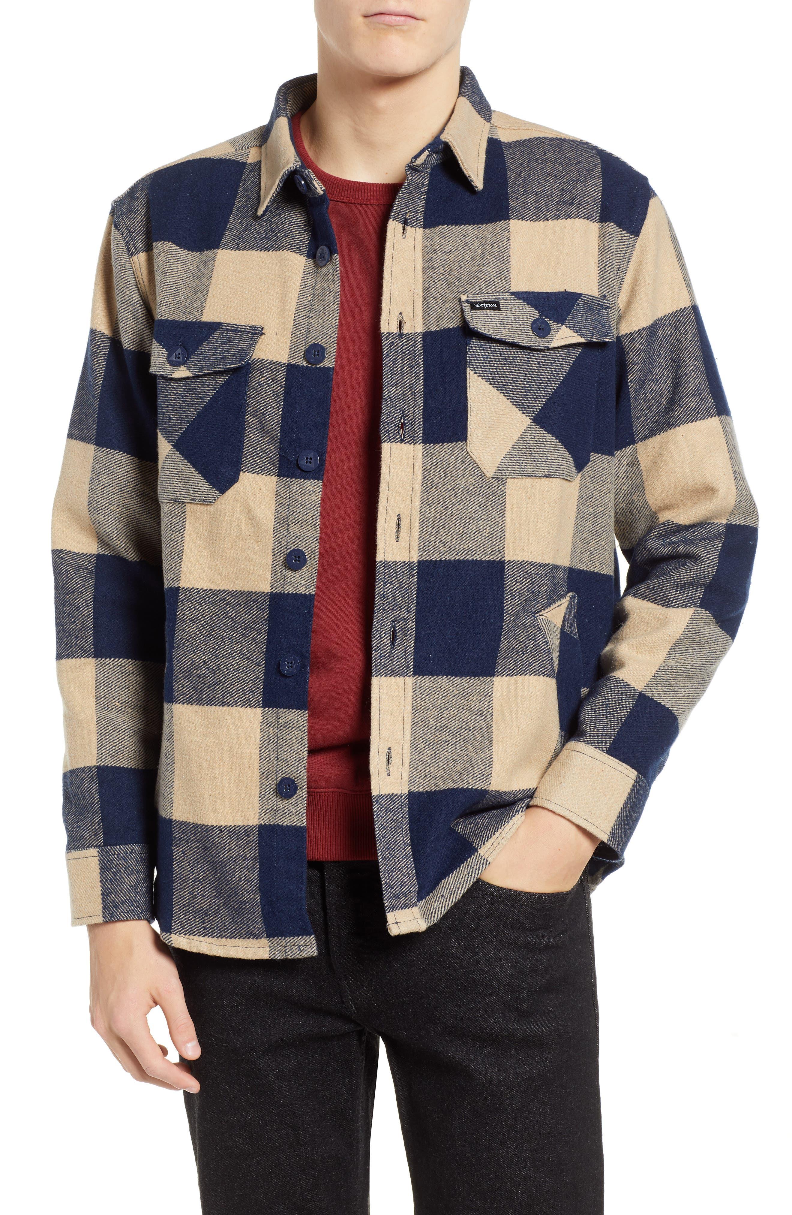 Durham Flannel Shirt,                         Main,                         color, NAVY/ CREAM