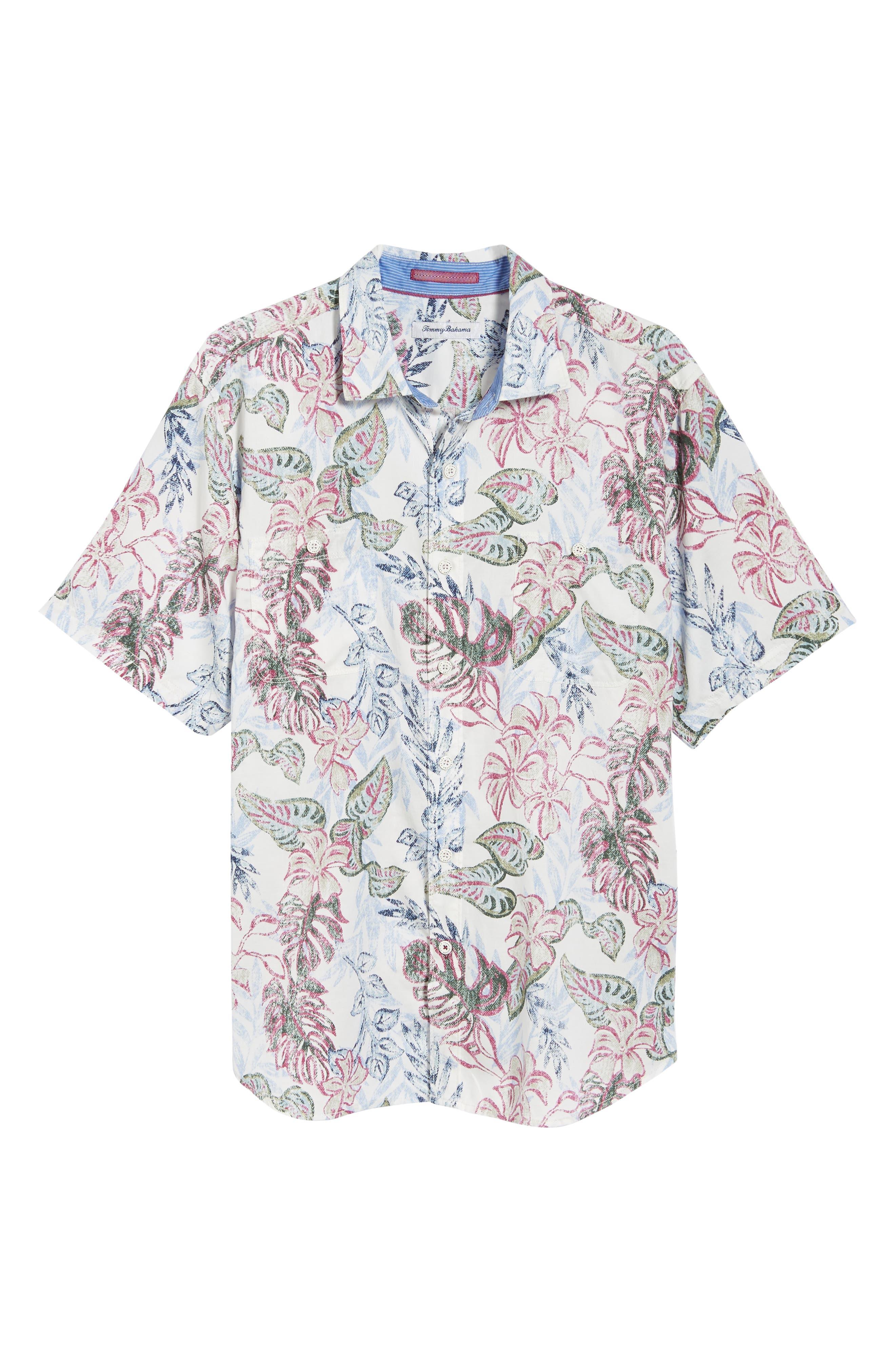 Diego Fronds Jacquard Short Shirt,                             Alternate thumbnail 6, color,                             DEEP MOREL
