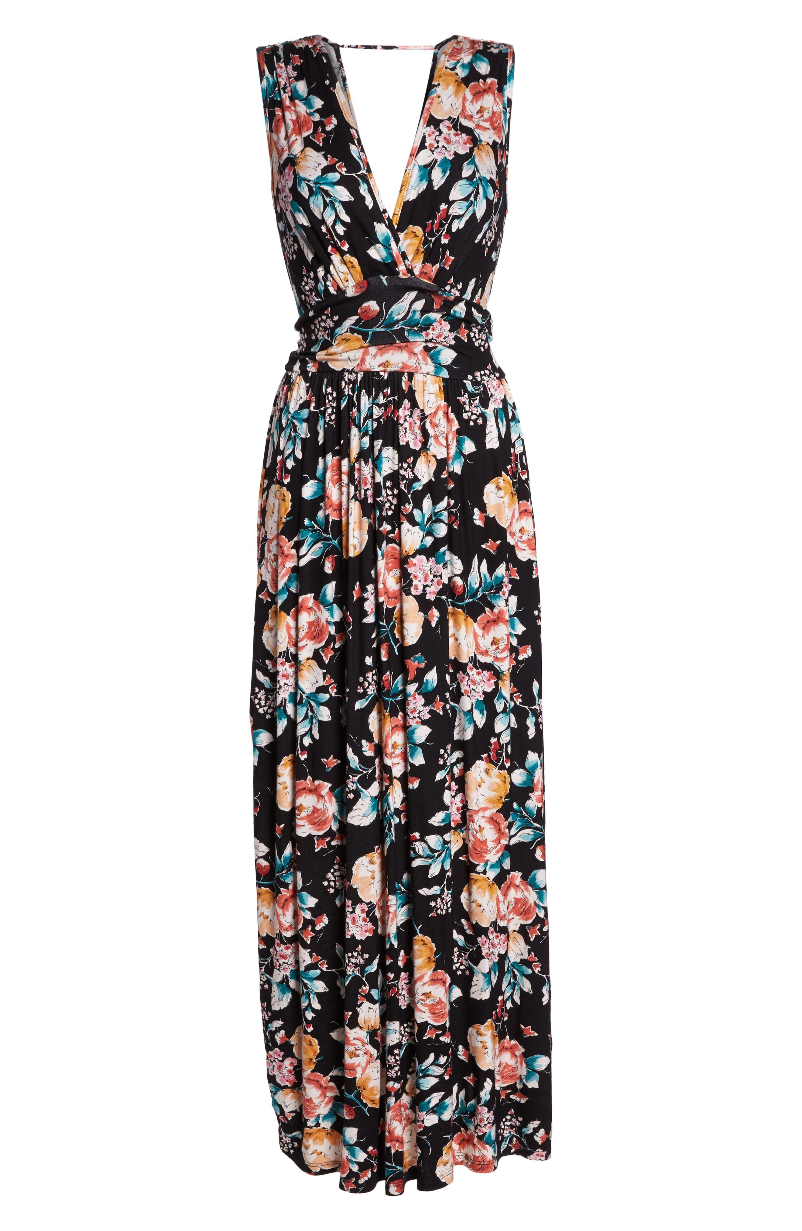 Peony Deep V Maxi Dress,                             Alternate thumbnail 7, color,                             PEONY