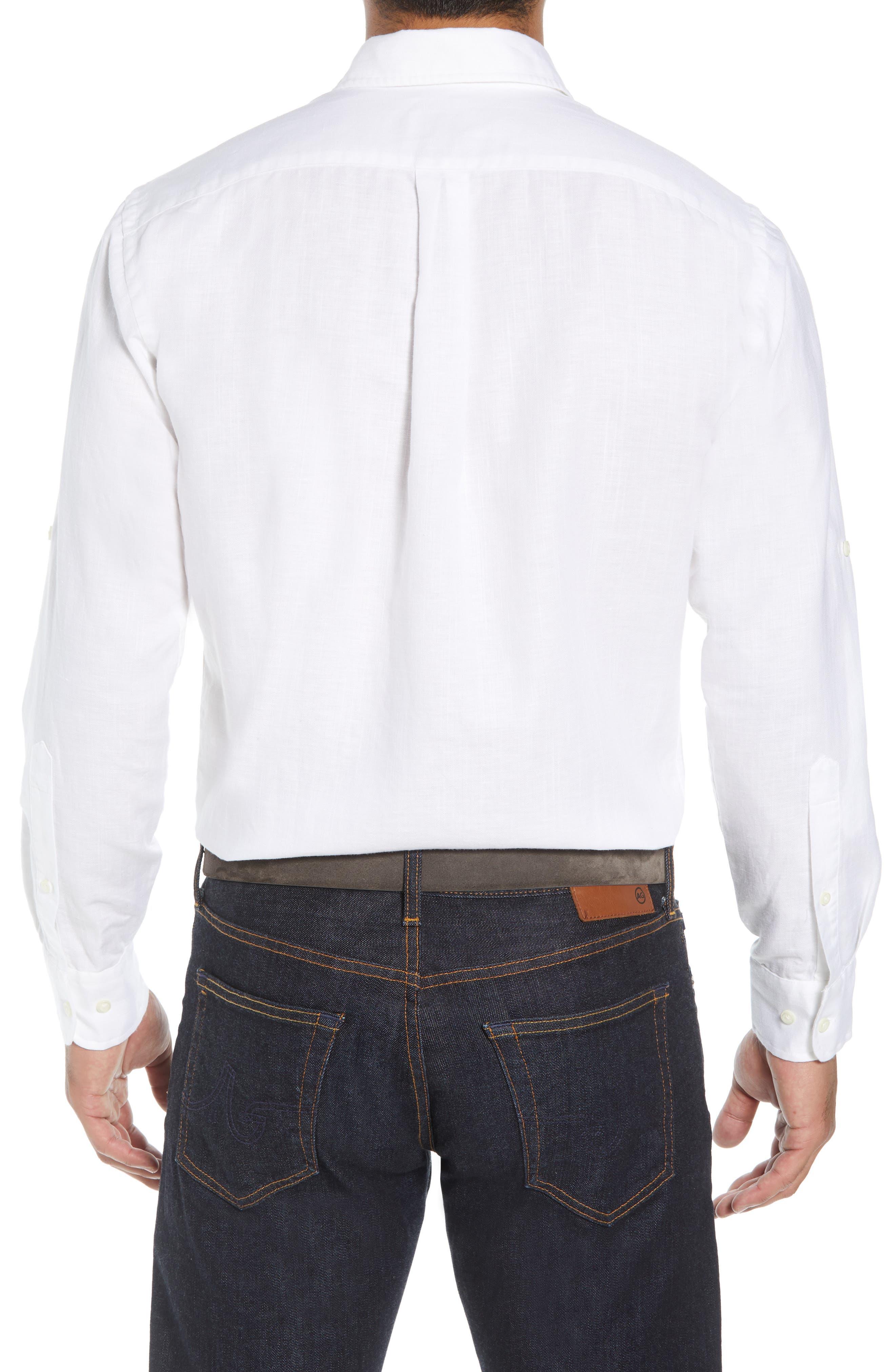 Harkers Regular Fit Herringbone Sport Shirt,                             Alternate thumbnail 3, color,                             100