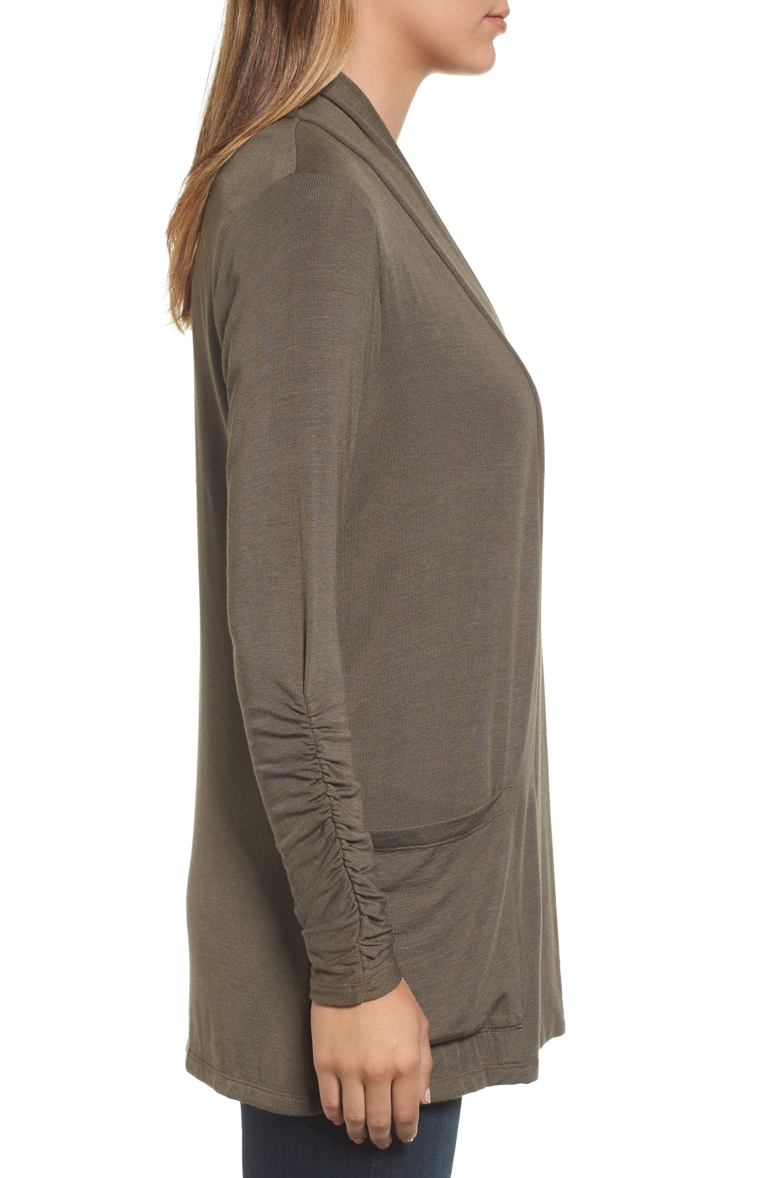 Ruched Sleeve Cardigan,                             Alternate thumbnail 3, color,                             OLIVE