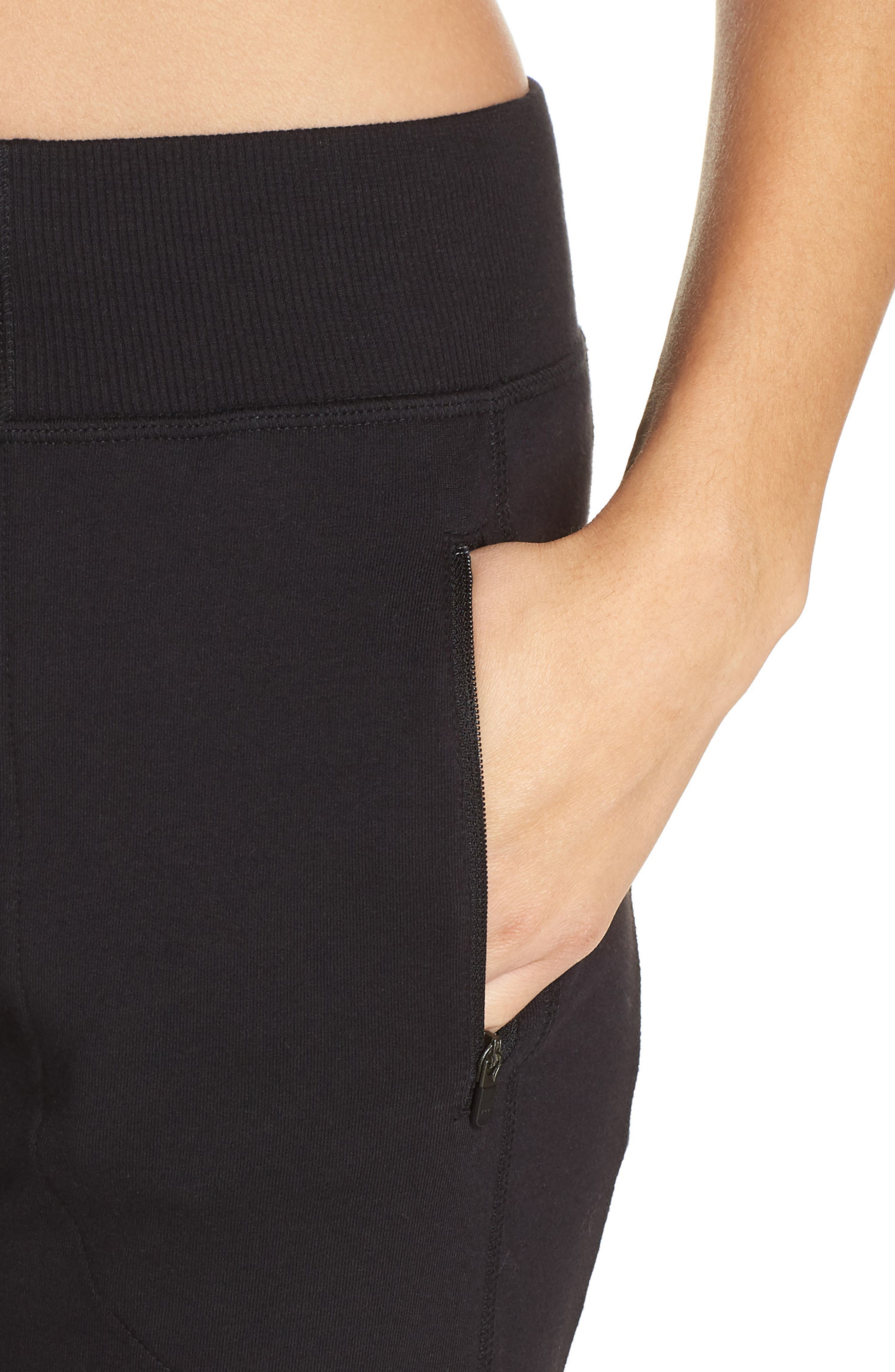 Taryn Luxe Jogger Pants,                             Alternate thumbnail 4, color,                             BLACK