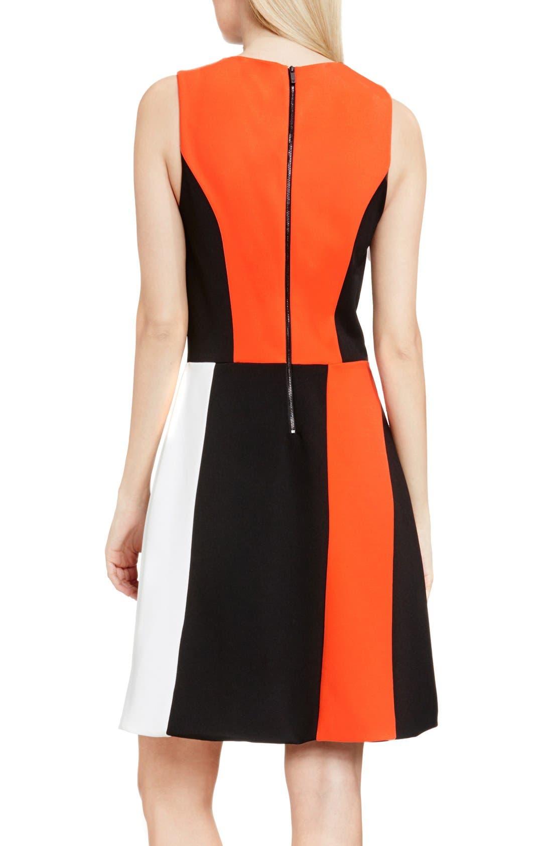 Colorblock Sleeveless A-Line Dress,                             Alternate thumbnail 3, color,                             846