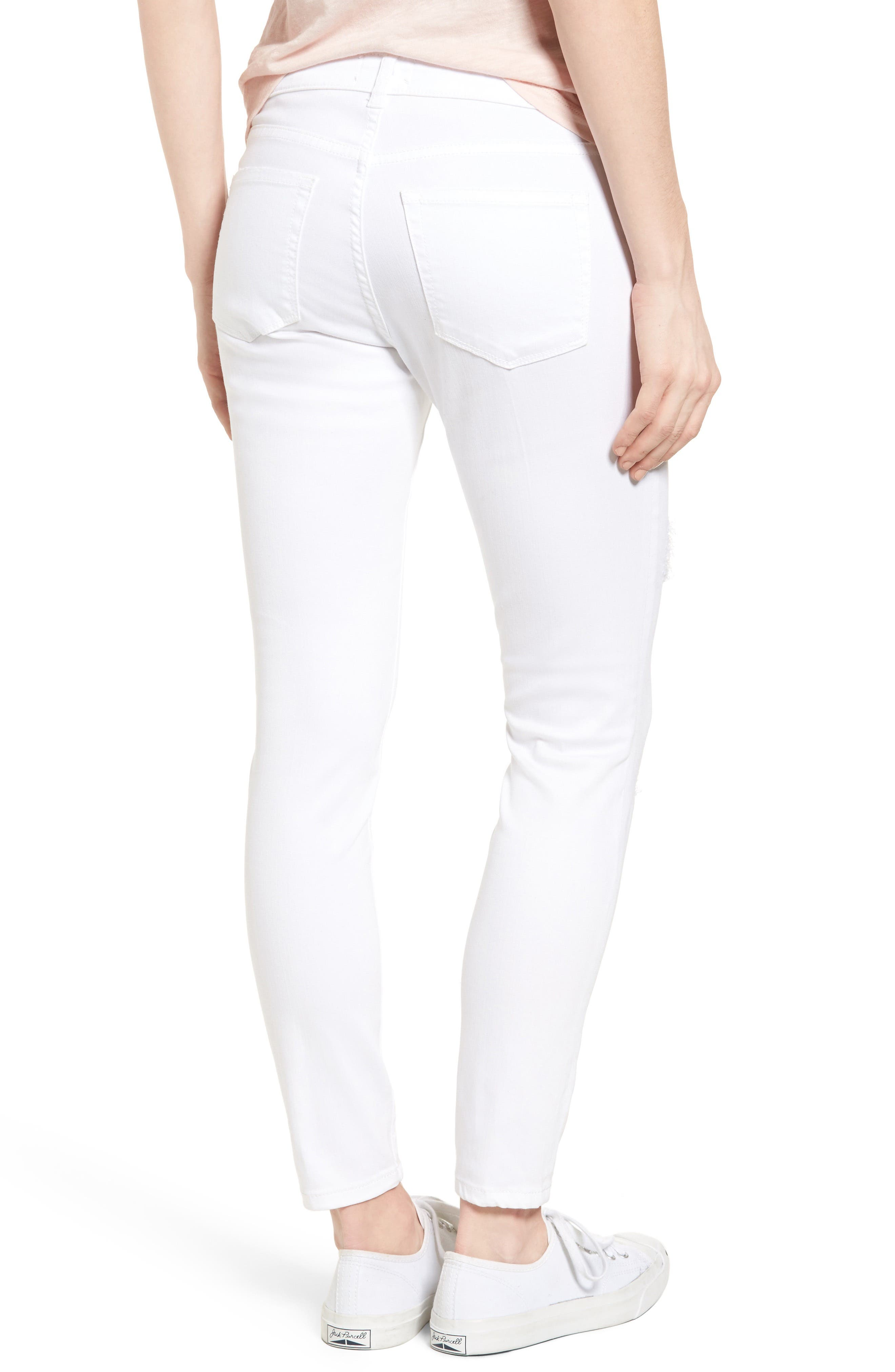 Distressed Skinny Jeans,                             Alternate thumbnail 2, color,                             100