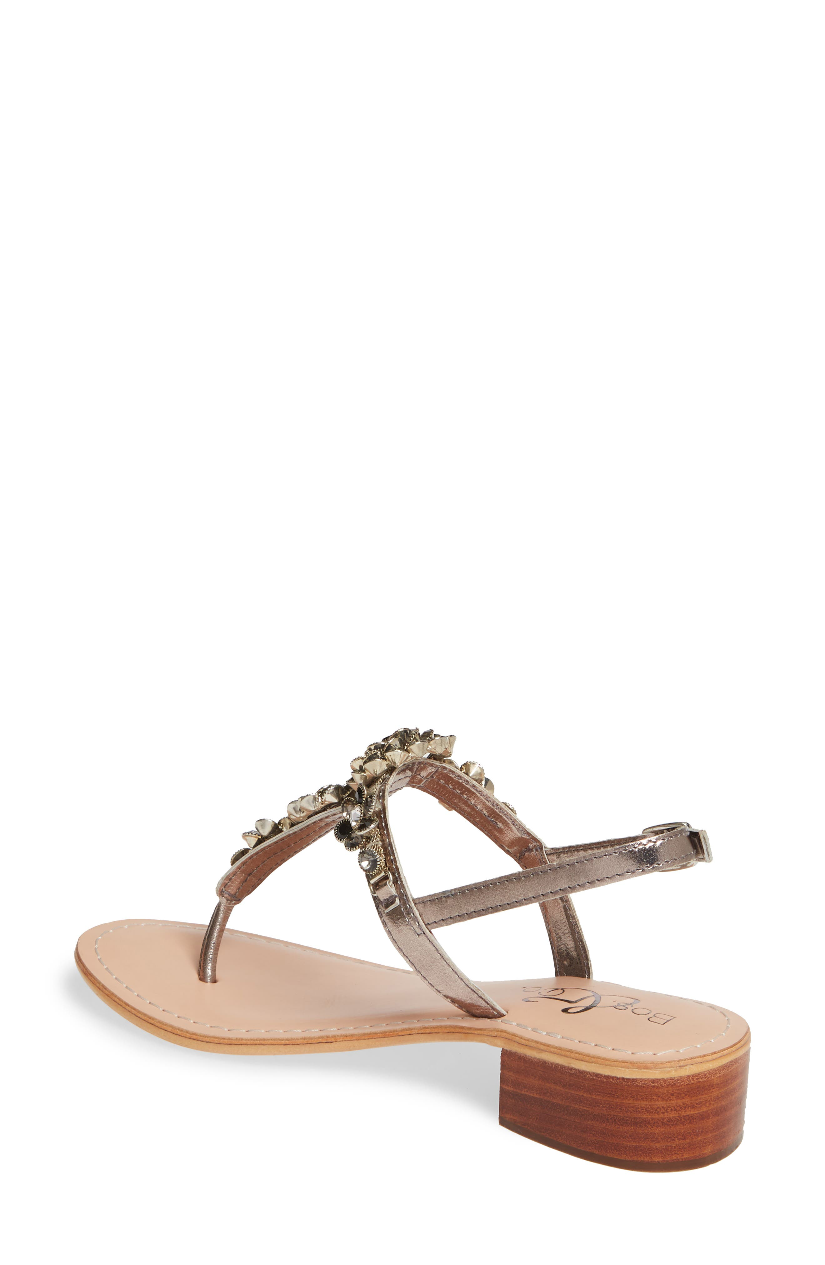 BOS. & CO.,                             Wyn Embellished Sandal,                             Alternate thumbnail 2, color,                             ANTHRACITE/ PEWTER LEATHER