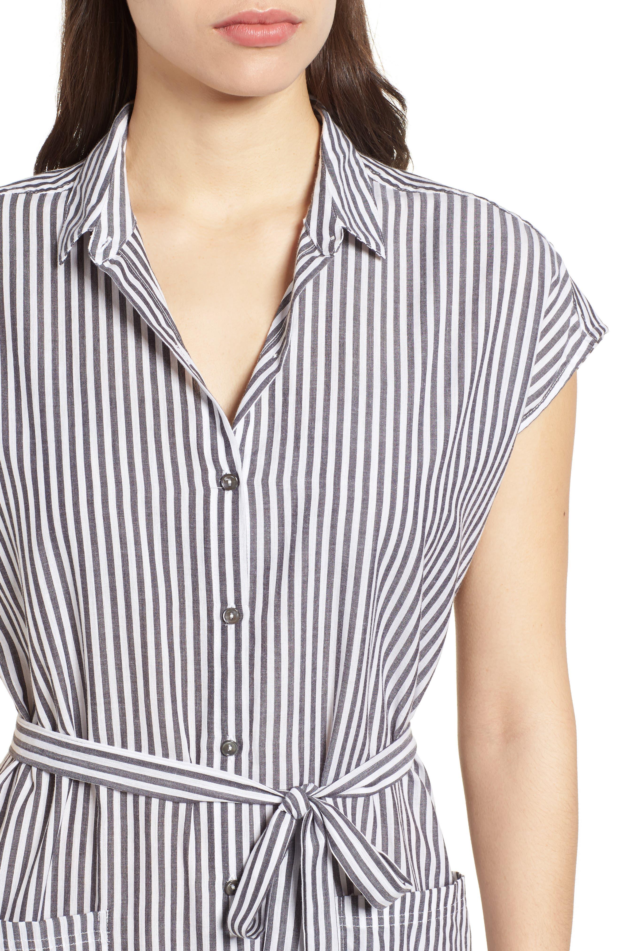 Stripe Belted Cotton Shirtdress,                             Alternate thumbnail 4, color,                             024