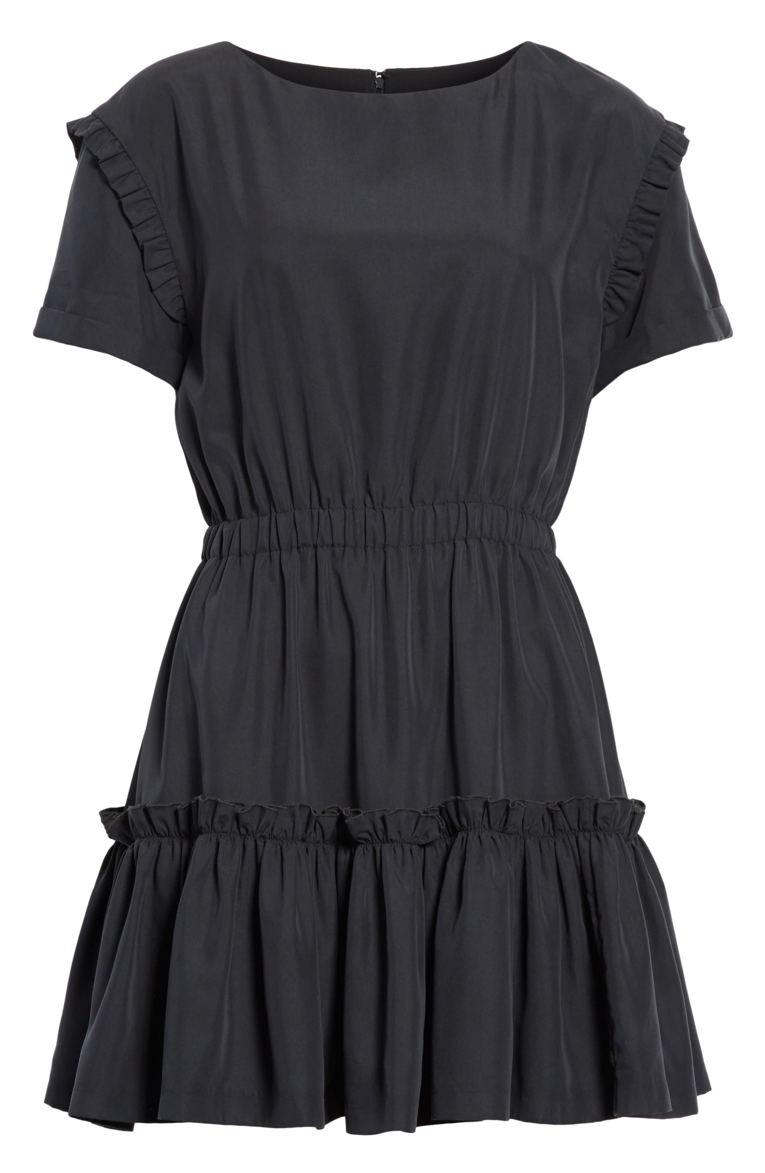 Garner Drop Shoulder Flounce Dress,                             Alternate thumbnail 6, color,                             001