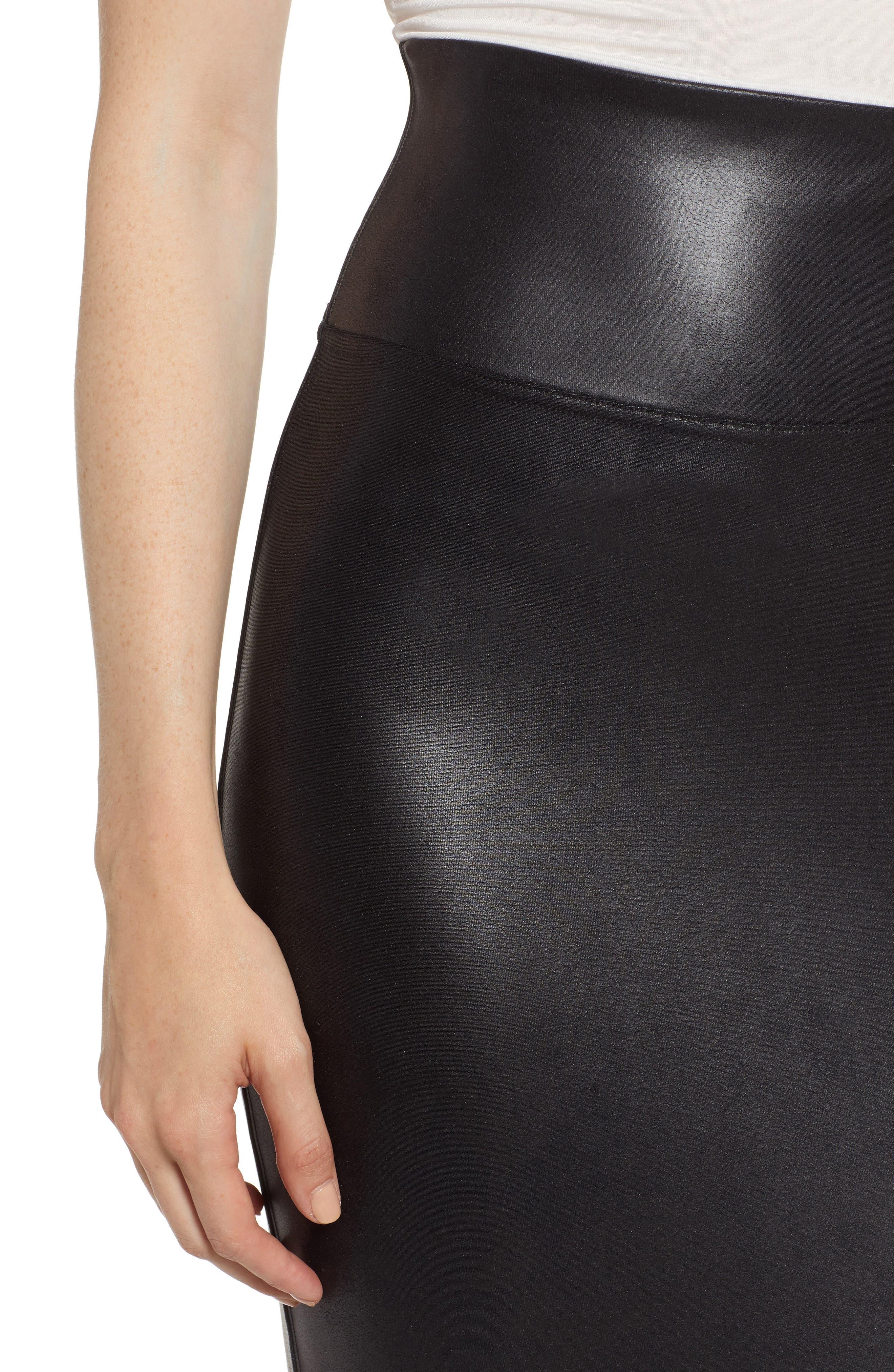 Faux Leather Pencil Skirt,                             Alternate thumbnail 4, color,                             VERY BLACK