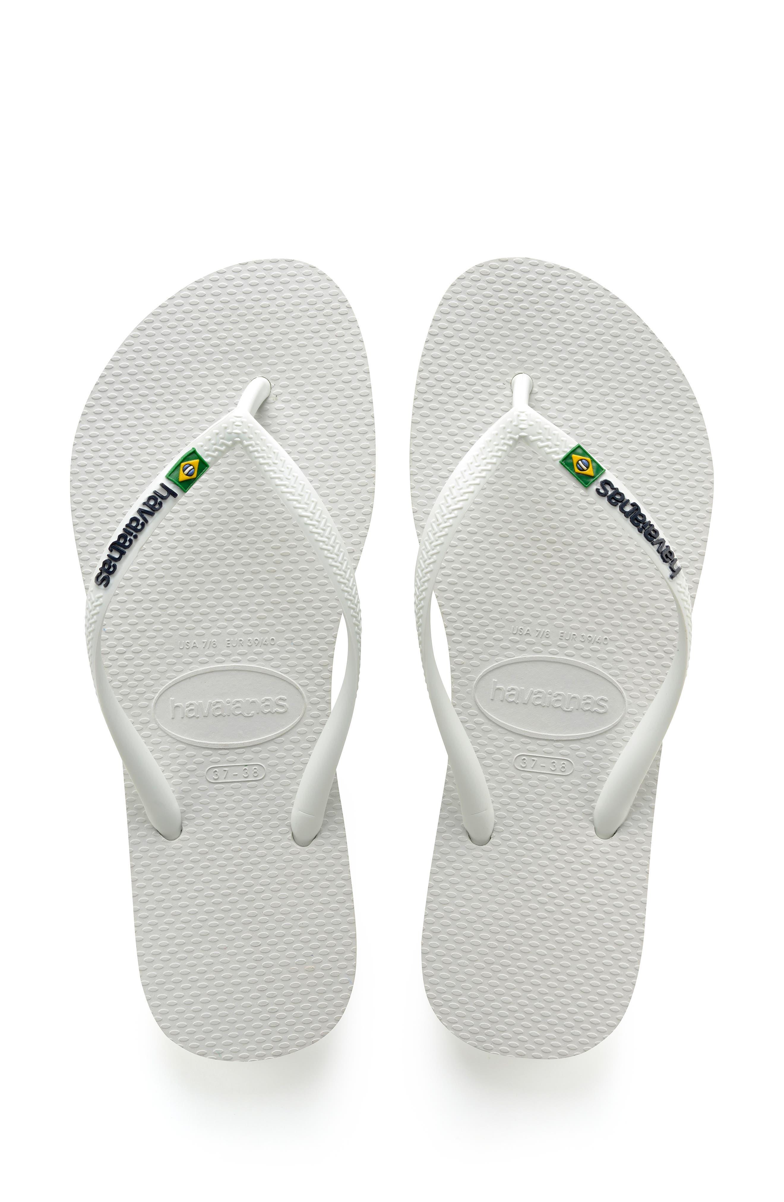 Slim Brazil Flip Flop,                         Main,                         color, WHITE