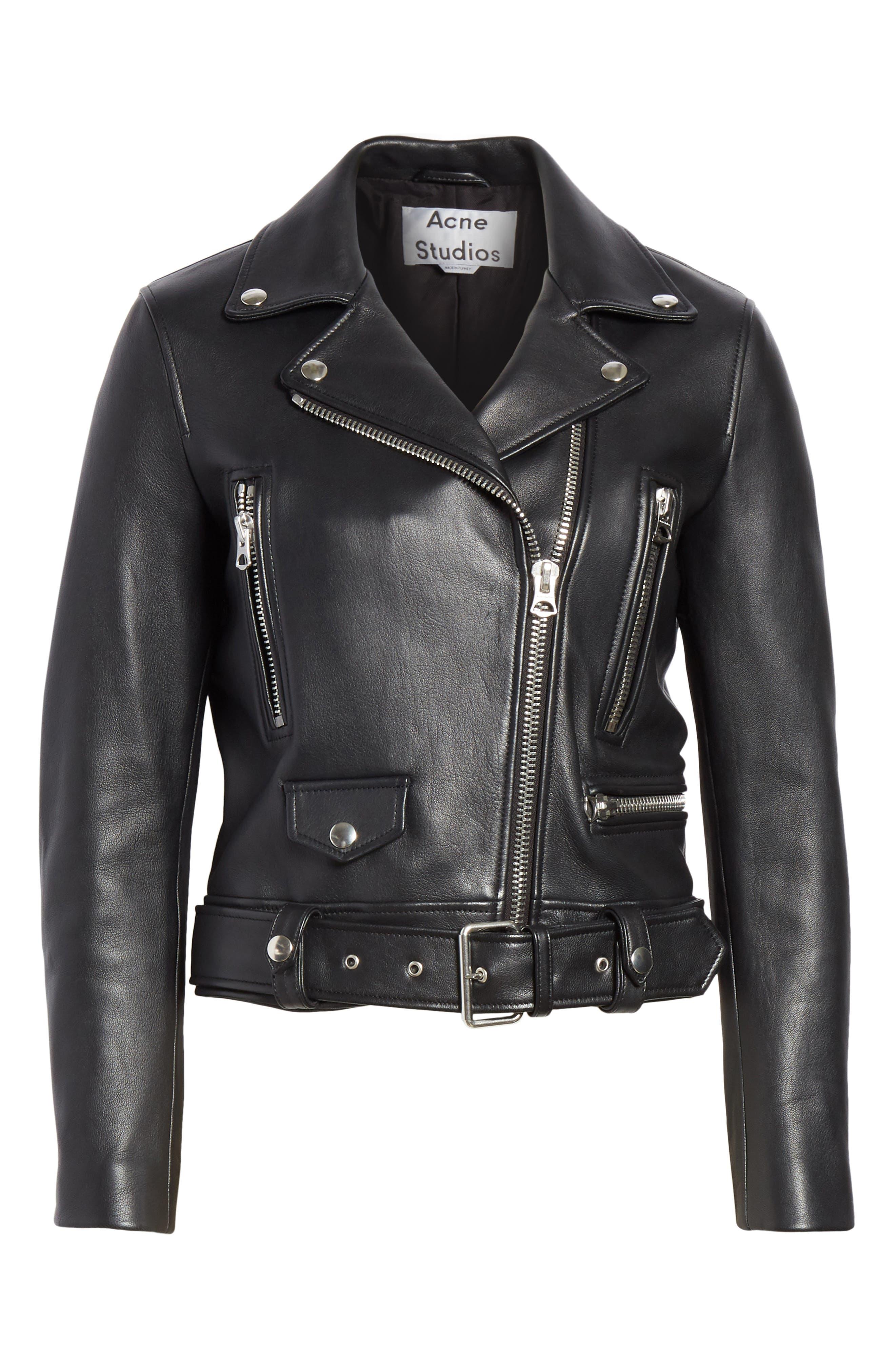 Mock Core Leather Moto Jacket,                             Alternate thumbnail 5, color,                             BLACK