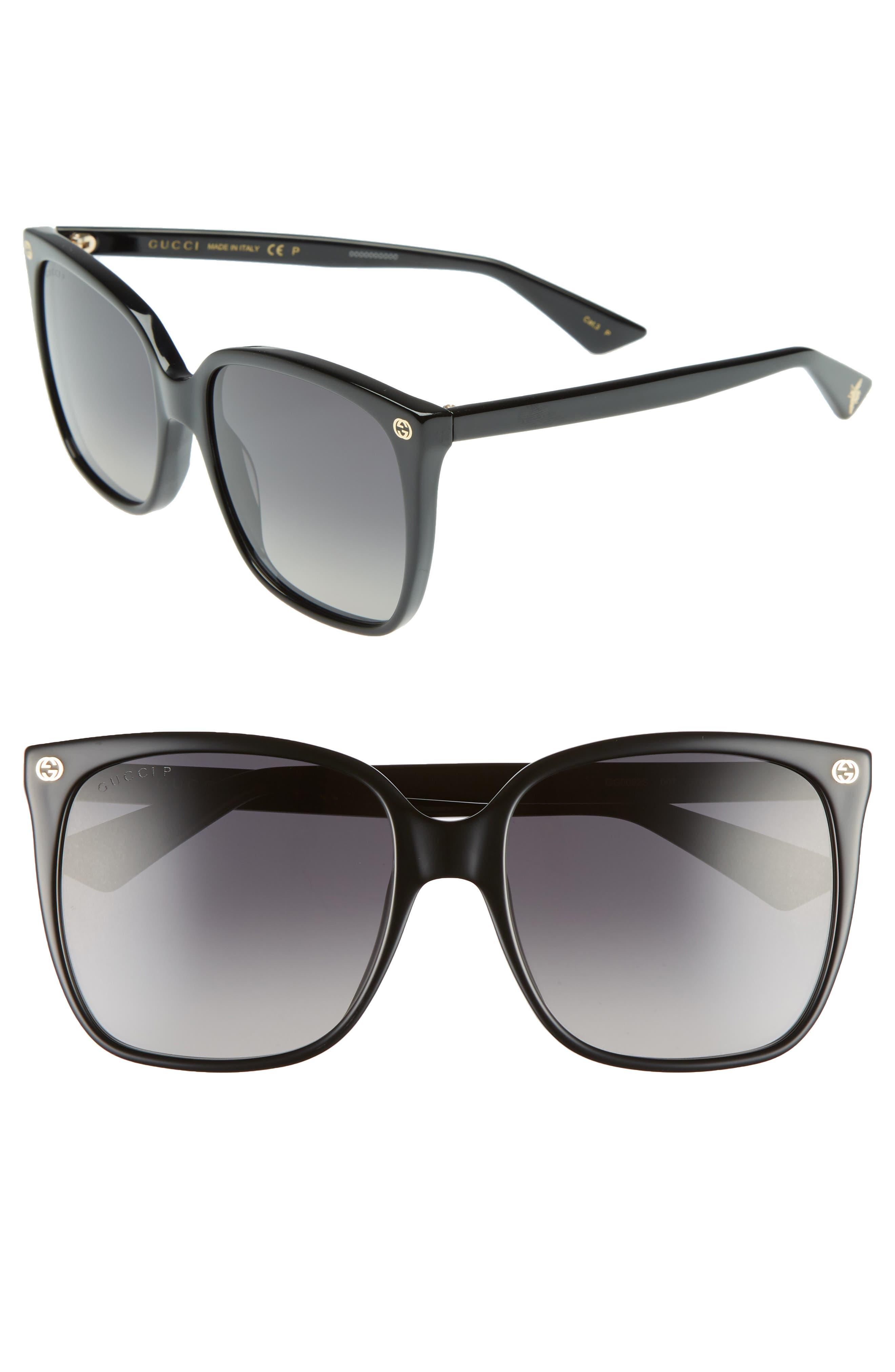 57mm Square Sunglasses,                             Main thumbnail 1, color,                             007